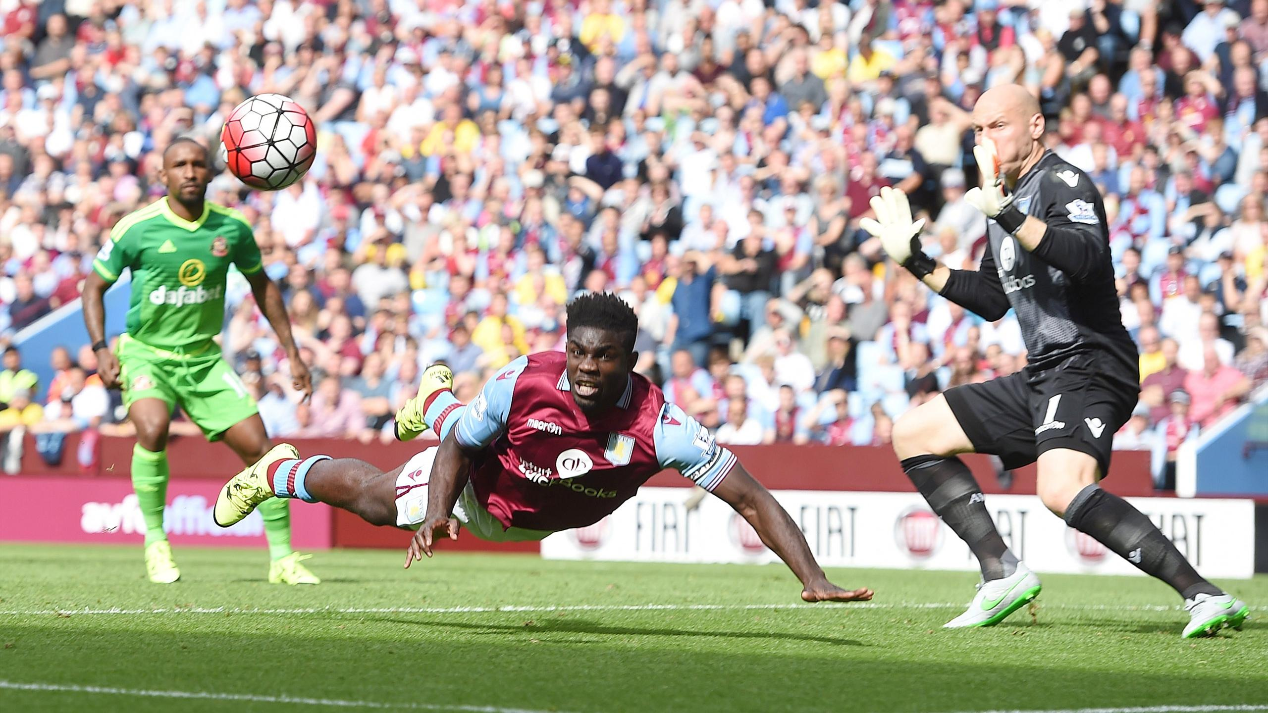 Micah Richards clears the ball for Aston Villa