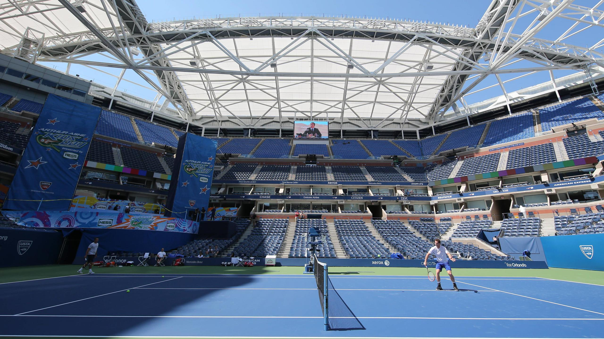 Andy Murray's training session on Arthur Ashe Staduim
