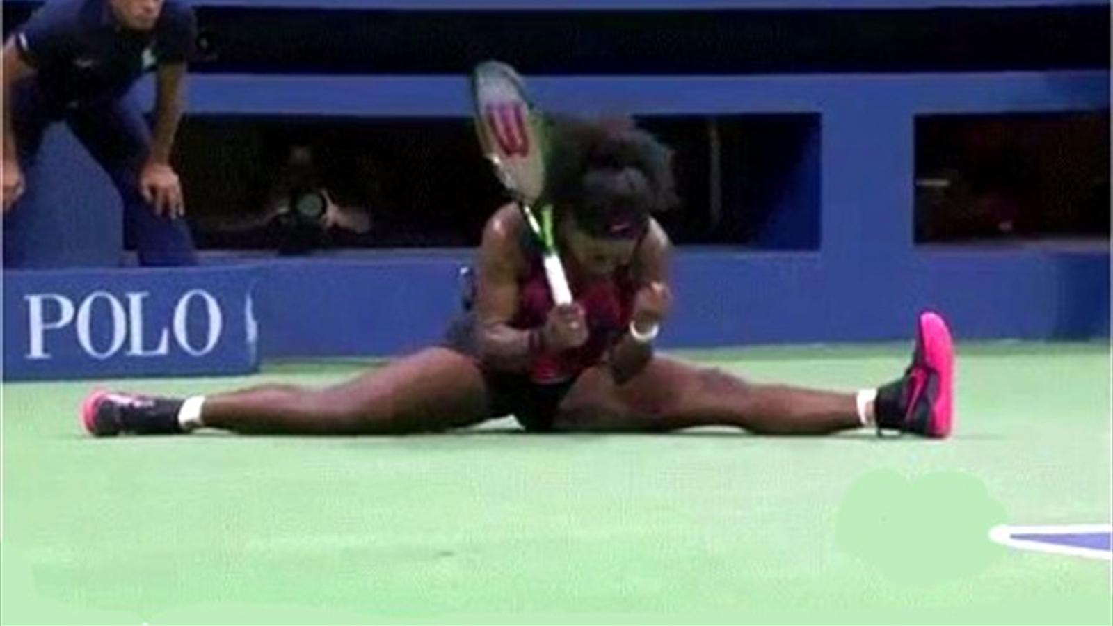 Serena Williams does the splits and still wins the point at the US Open