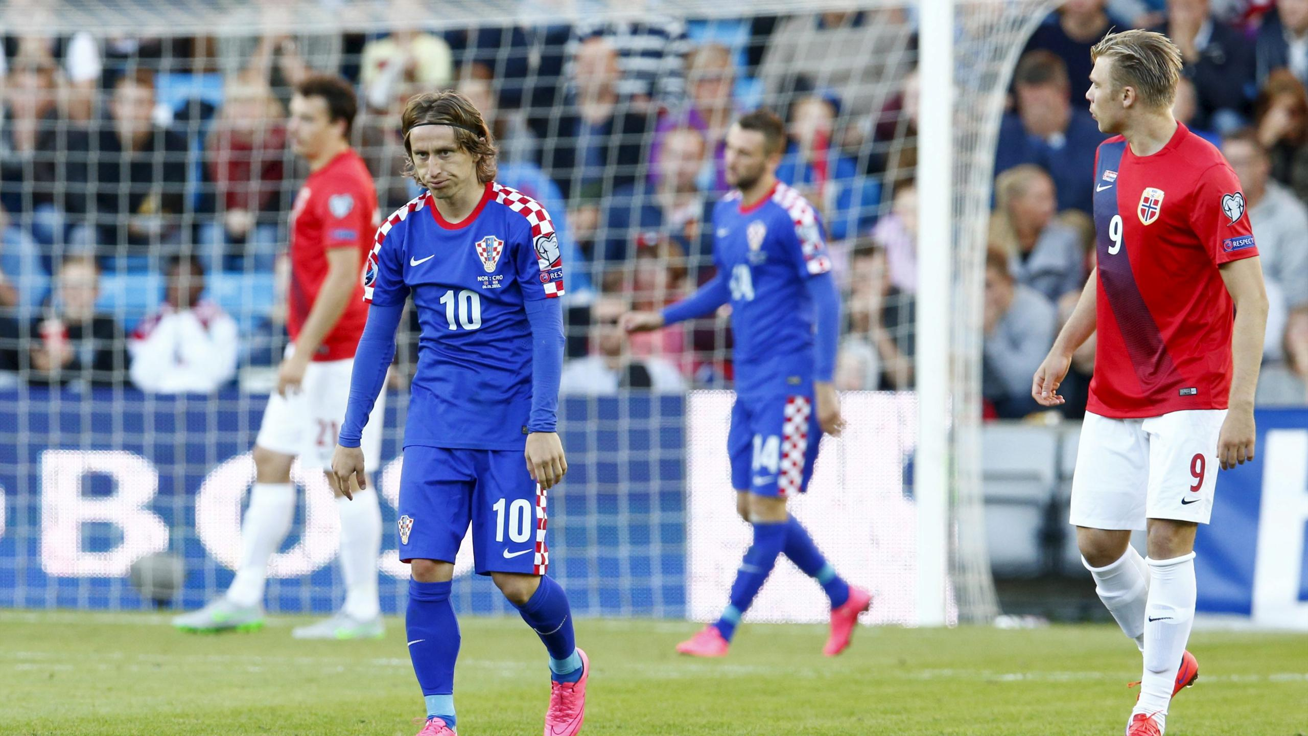 Croatia's Luka Modric reacts during the Euro 2016 Group H qualifying soccer match against Norwa