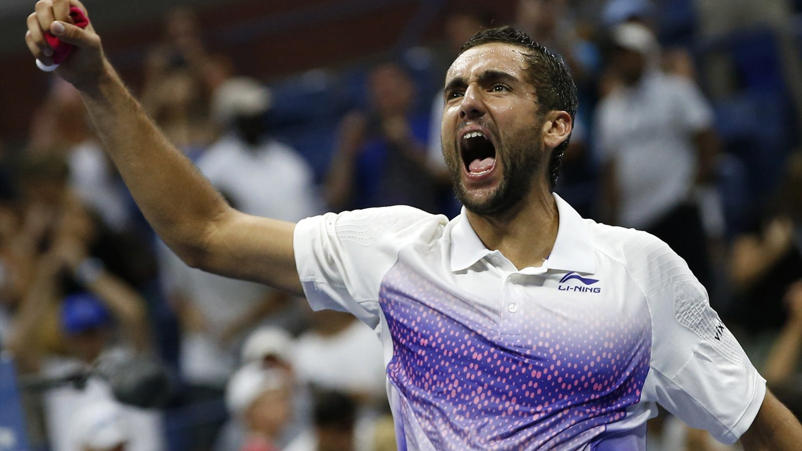 Marin Cilic of Croatia celebrates after defeating Jo-Wilfried Tsonga of France in five sets during their quarterfinals match at the U.S. Open Championships tennis tournament in New York