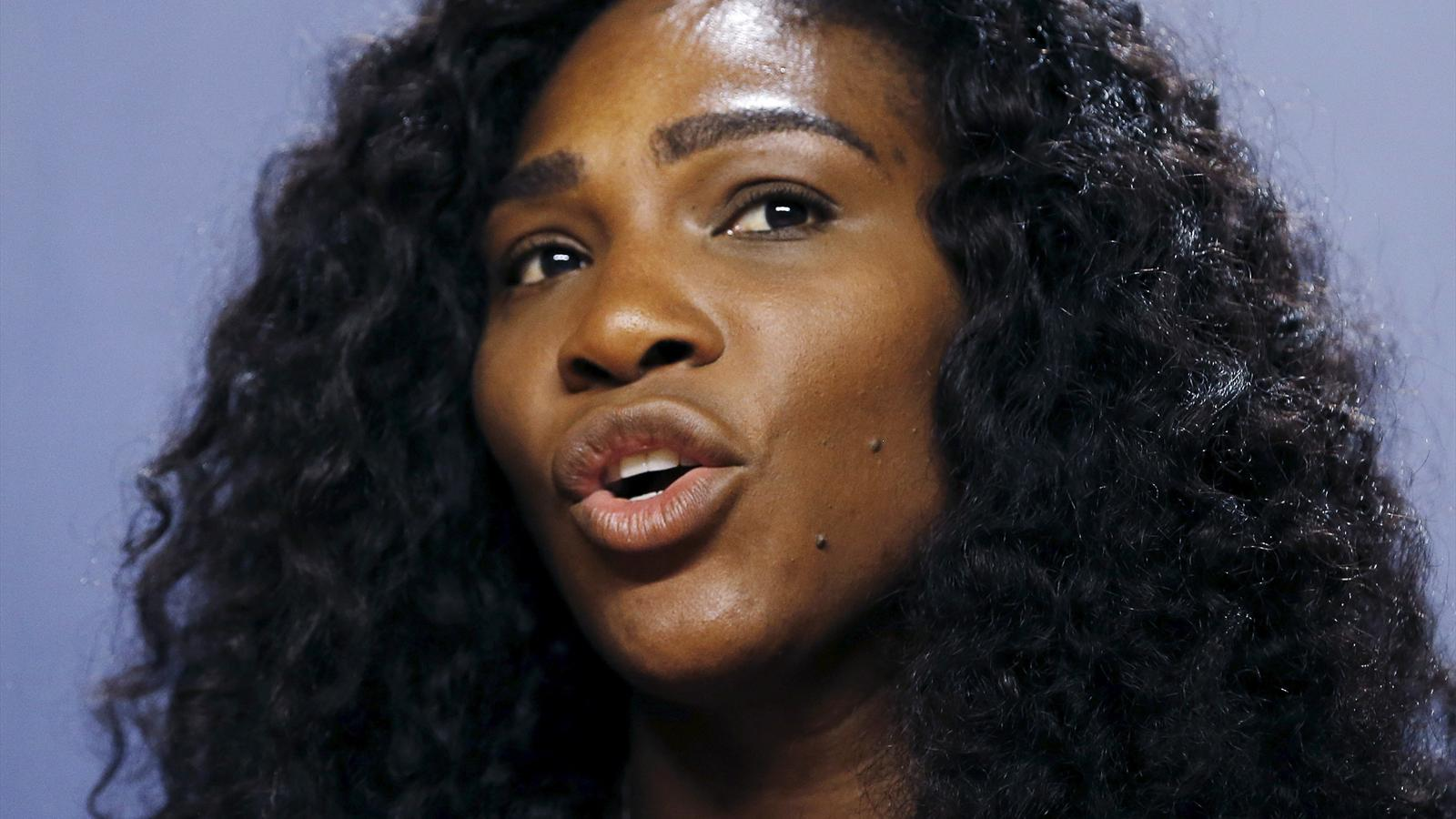 Serena Williams of the U.S. speaks during a news conference at the USTA Billie Jean King National Tennis Center ahead of the 2015 U.S. Open tennis tournament in New York