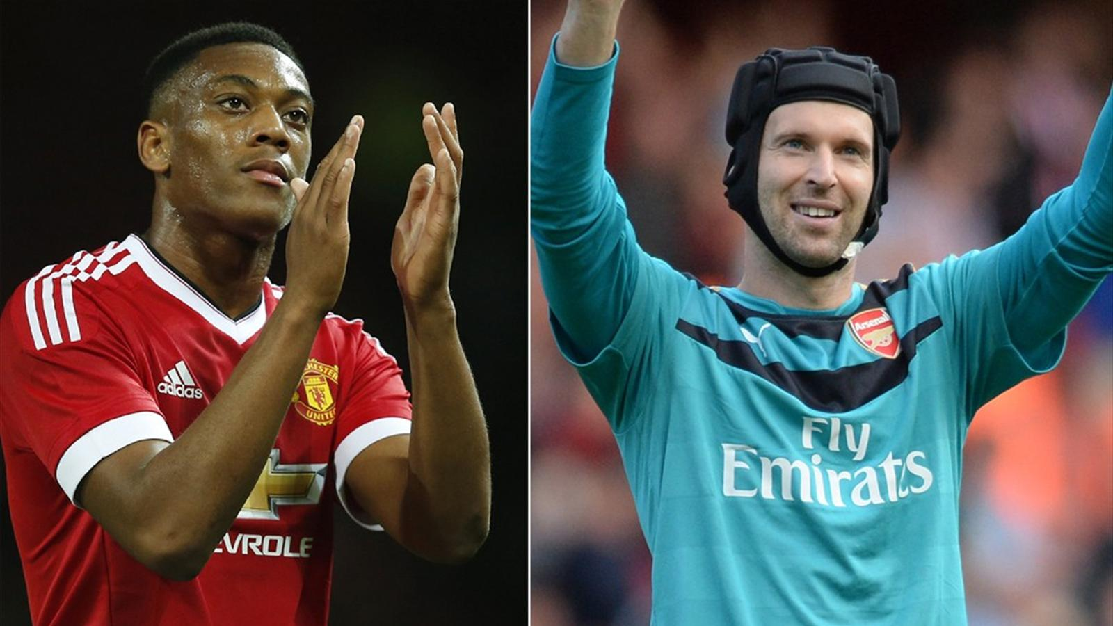 Anthony Martial and Petr Cech of Manchester United and Chelsea respectively