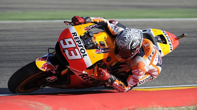 grand prix d 39 aragon malgr une chute marc marquez honda hrc a conserv la pole grand prix. Black Bedroom Furniture Sets. Home Design Ideas
