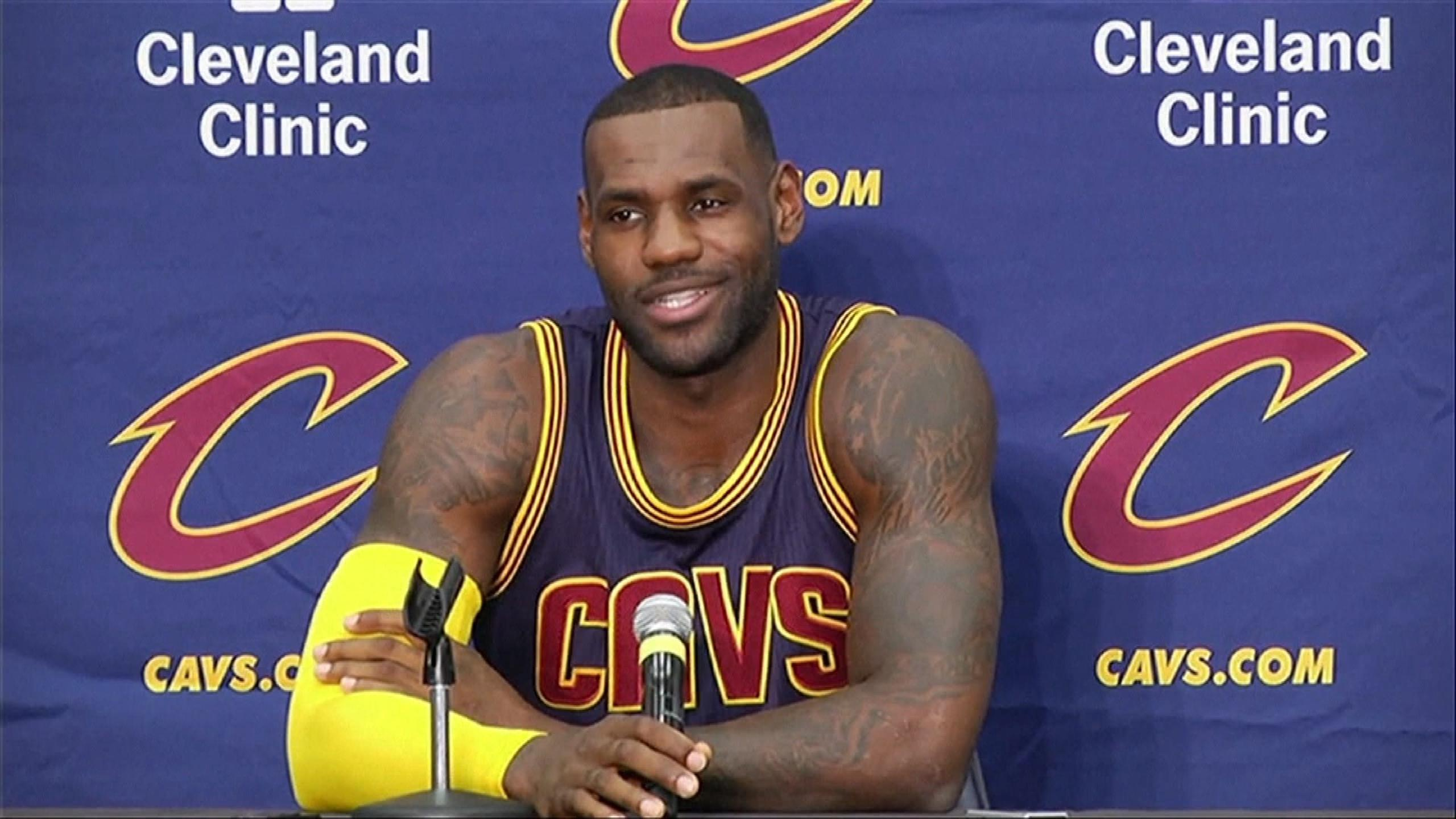 Lebron James in media day before starting training Camp