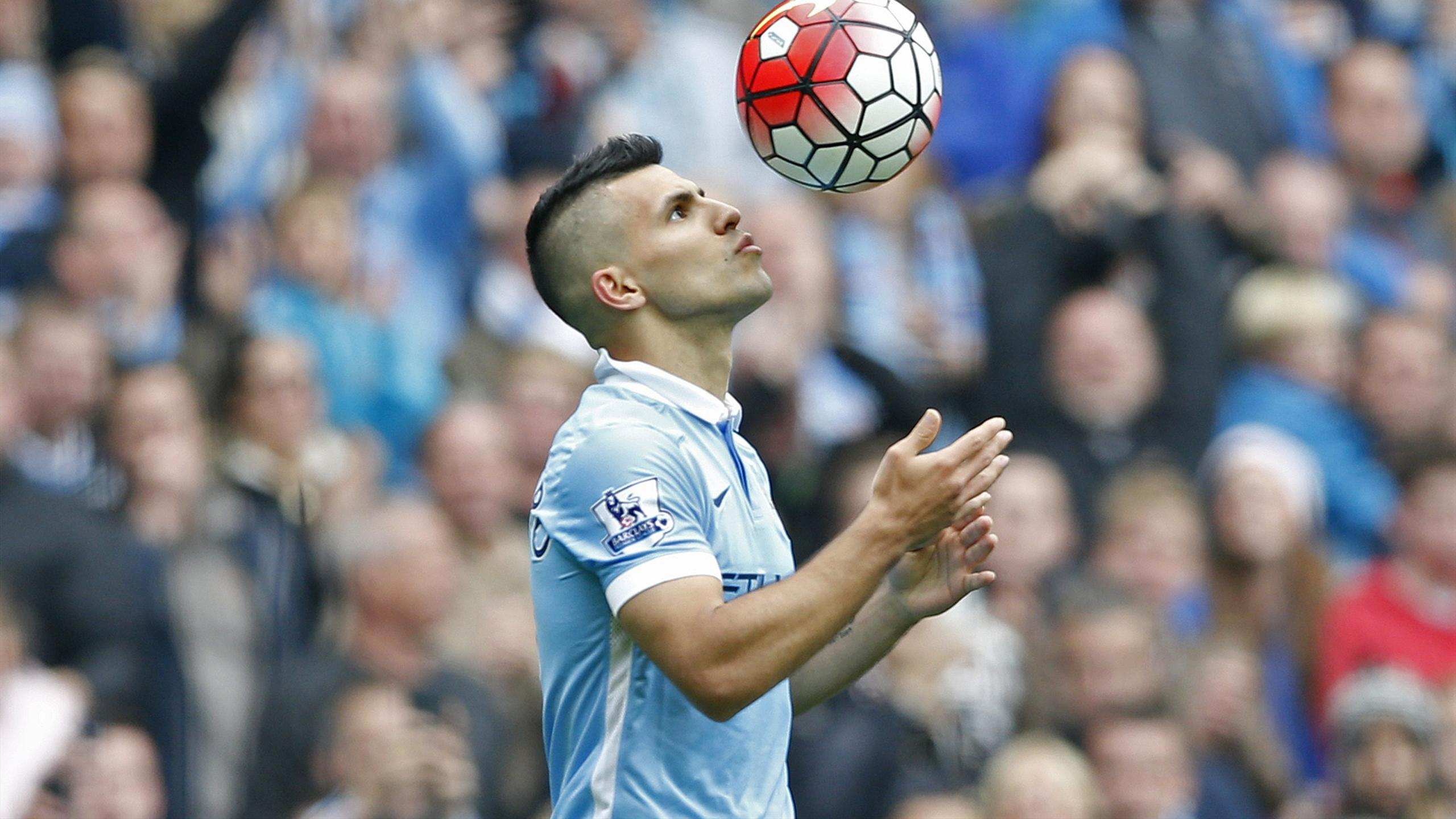 Sergio Aguero celebrates after scoring the third goal for Manchester City and completing his hat trick against Newcastle United