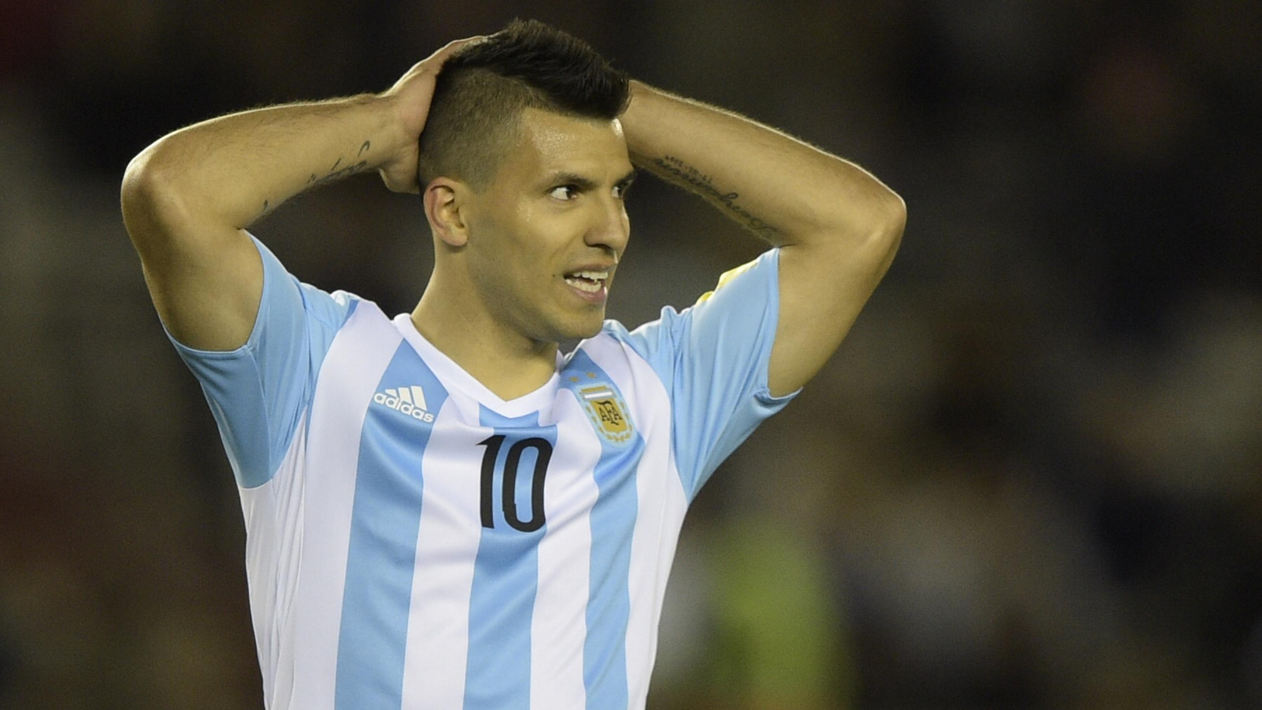 Argentina's forward Sergio Aguero gestures during the Russia 2018 FIFA World Cup
