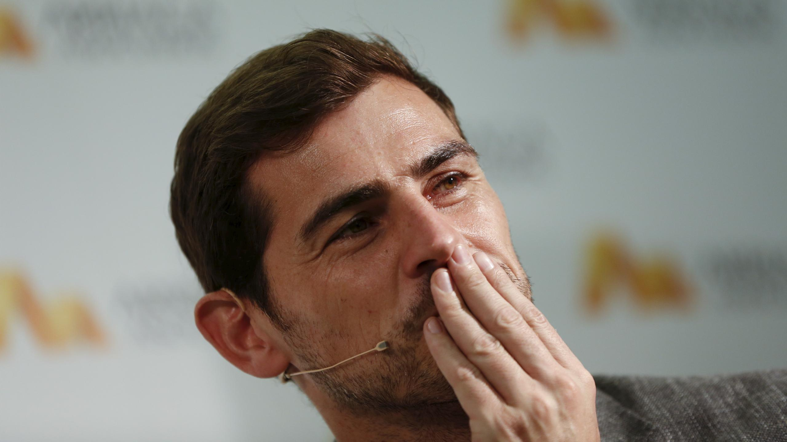 Spain's goalkeeper Iker Casillas gestures during a news conference in Madrid, Spain