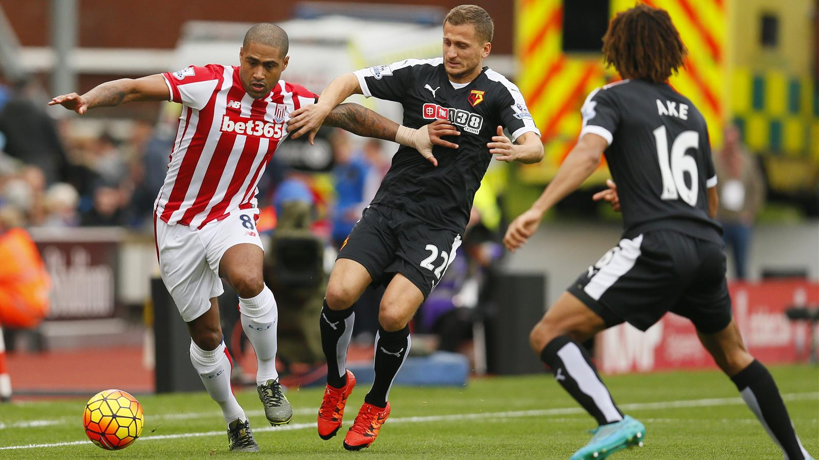 Stoke's Glen Johnson on the ball against Watford