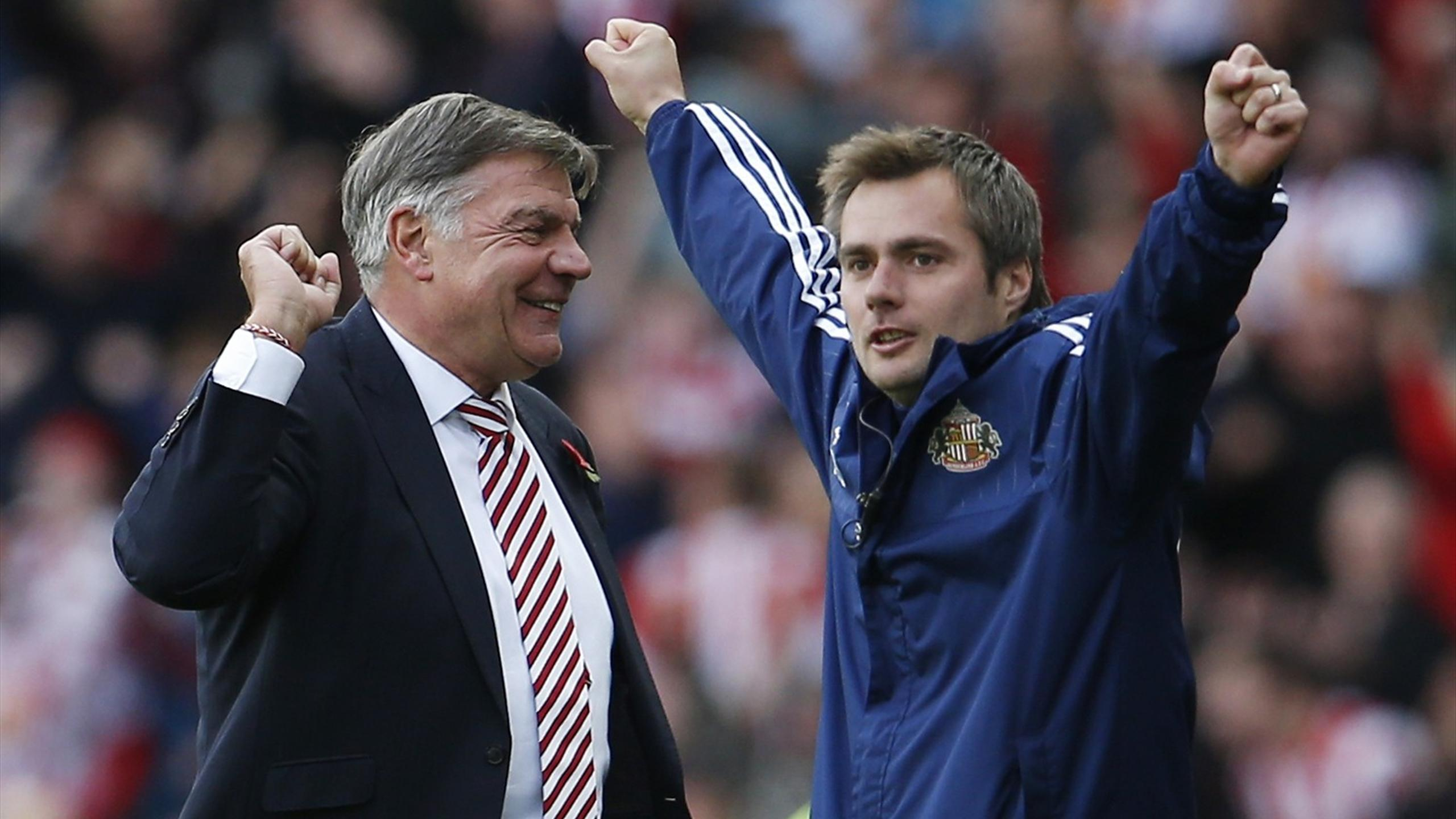 Sunderland manager Sam Allardyce and first team coach Robbie Stockdale celebrate their third goal against Newcastle