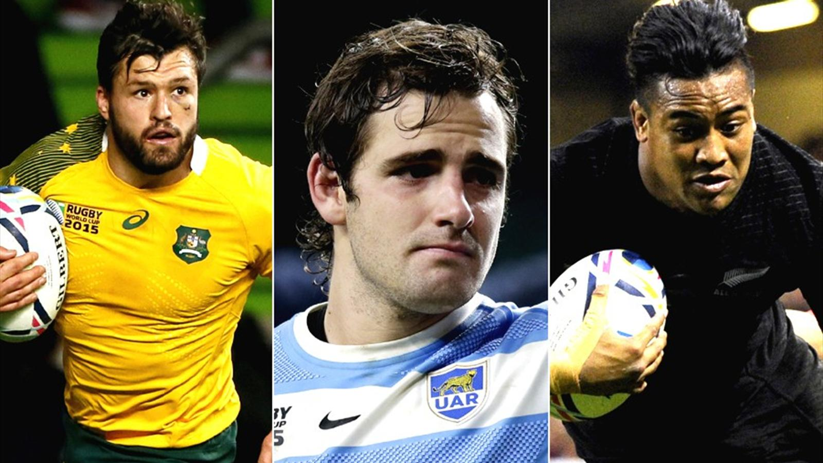 Adam Ashley-Cooper of Australia, Nicolas Sanchez of Argentina and Julian Savea of New Zealand