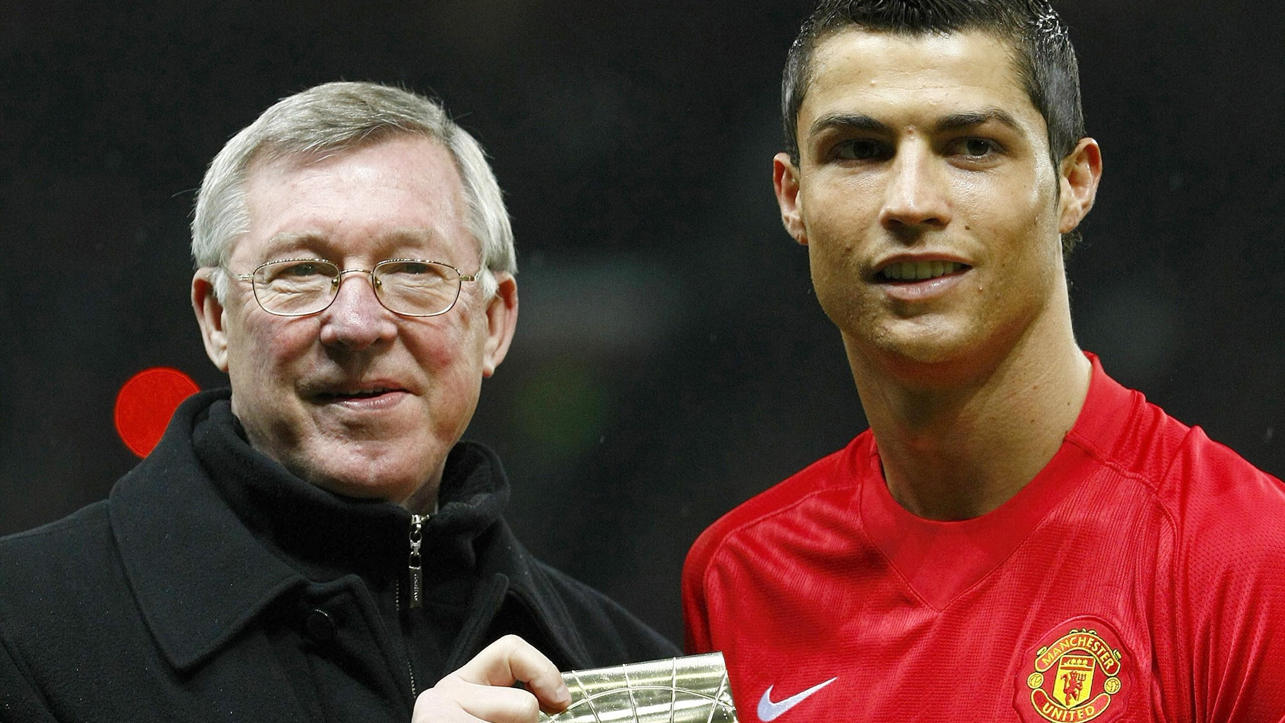 Sir Alex Ferguson and Cristiano Ronaldo receive awards while at Manchester United