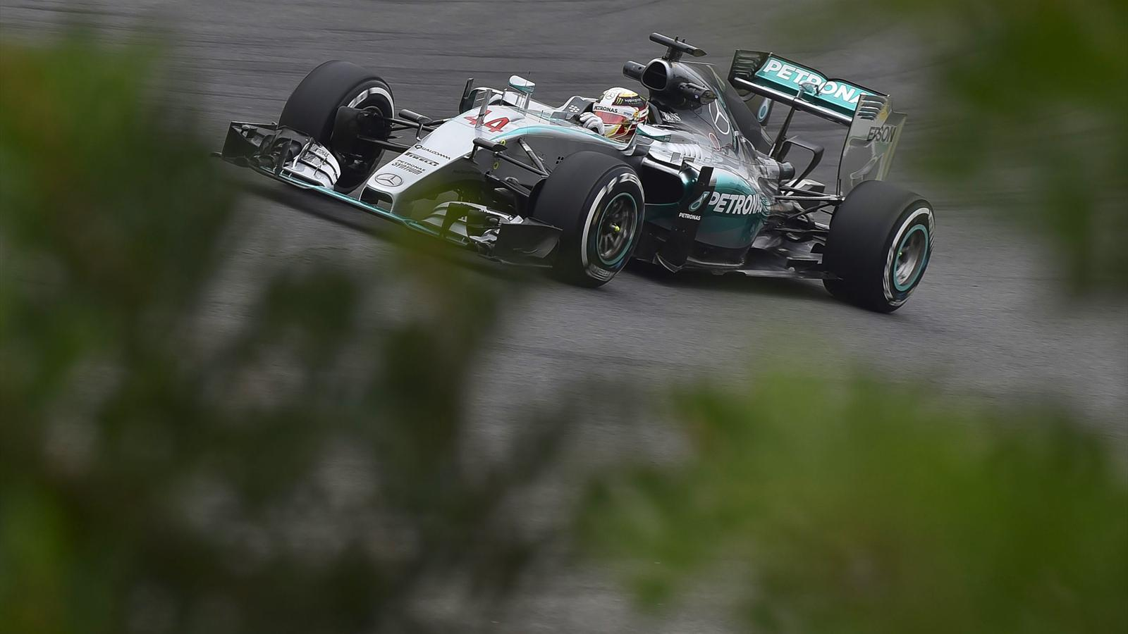 Lewis Hamilton powers his Mercedes during the free practice