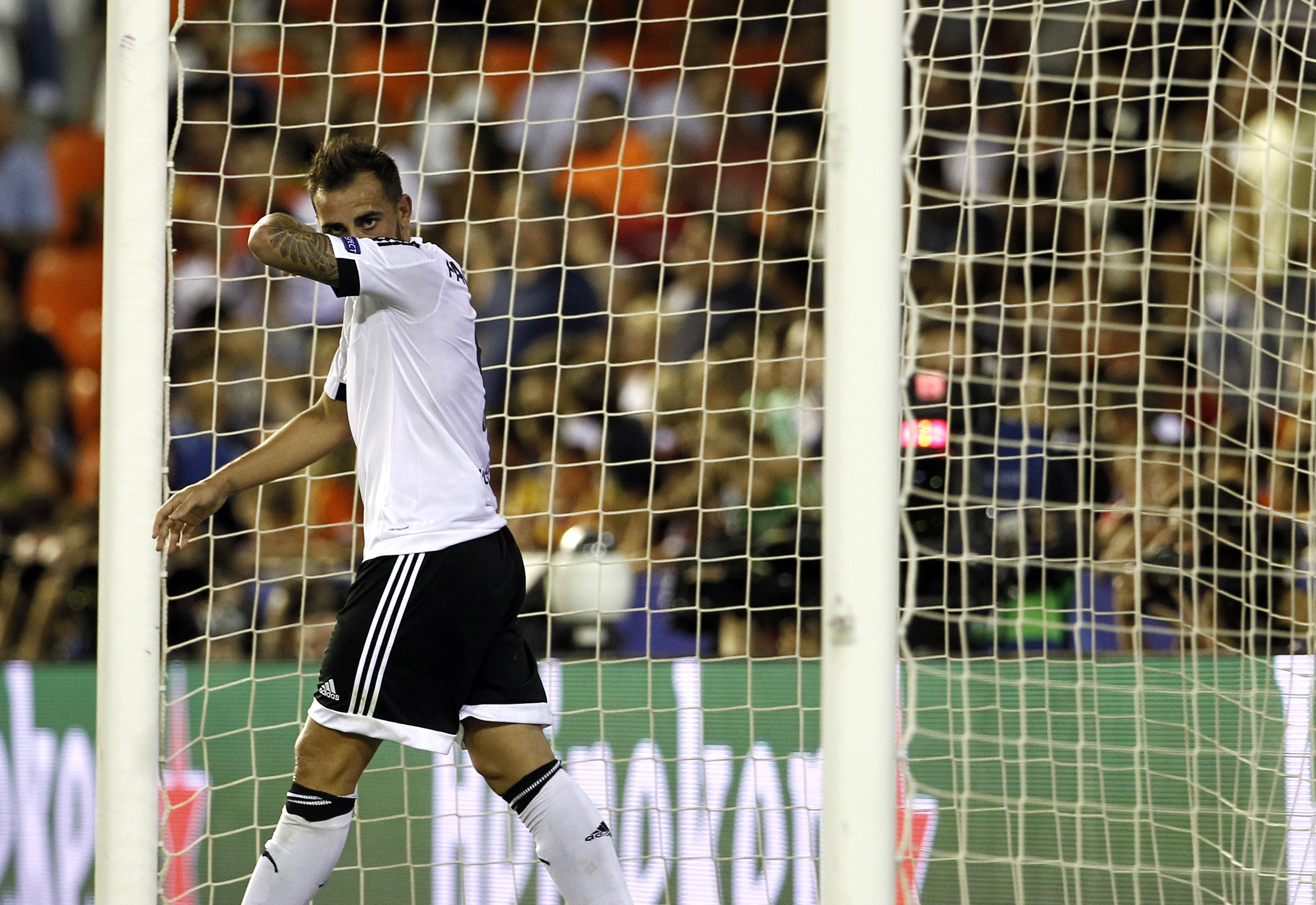 Valencia's forward Paco Alcacer gestures
