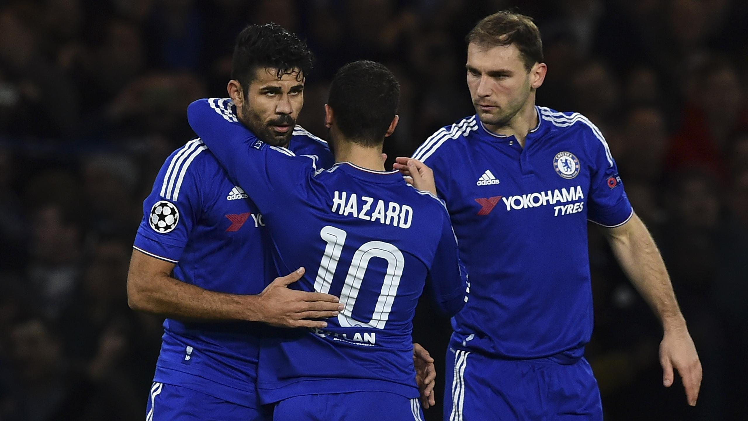 Chelsea's Belgian midfielder Eden Hazard (C) and Serbian defender Branislav Ivanovic (R) celebrate with striker Diego Costa against Porto