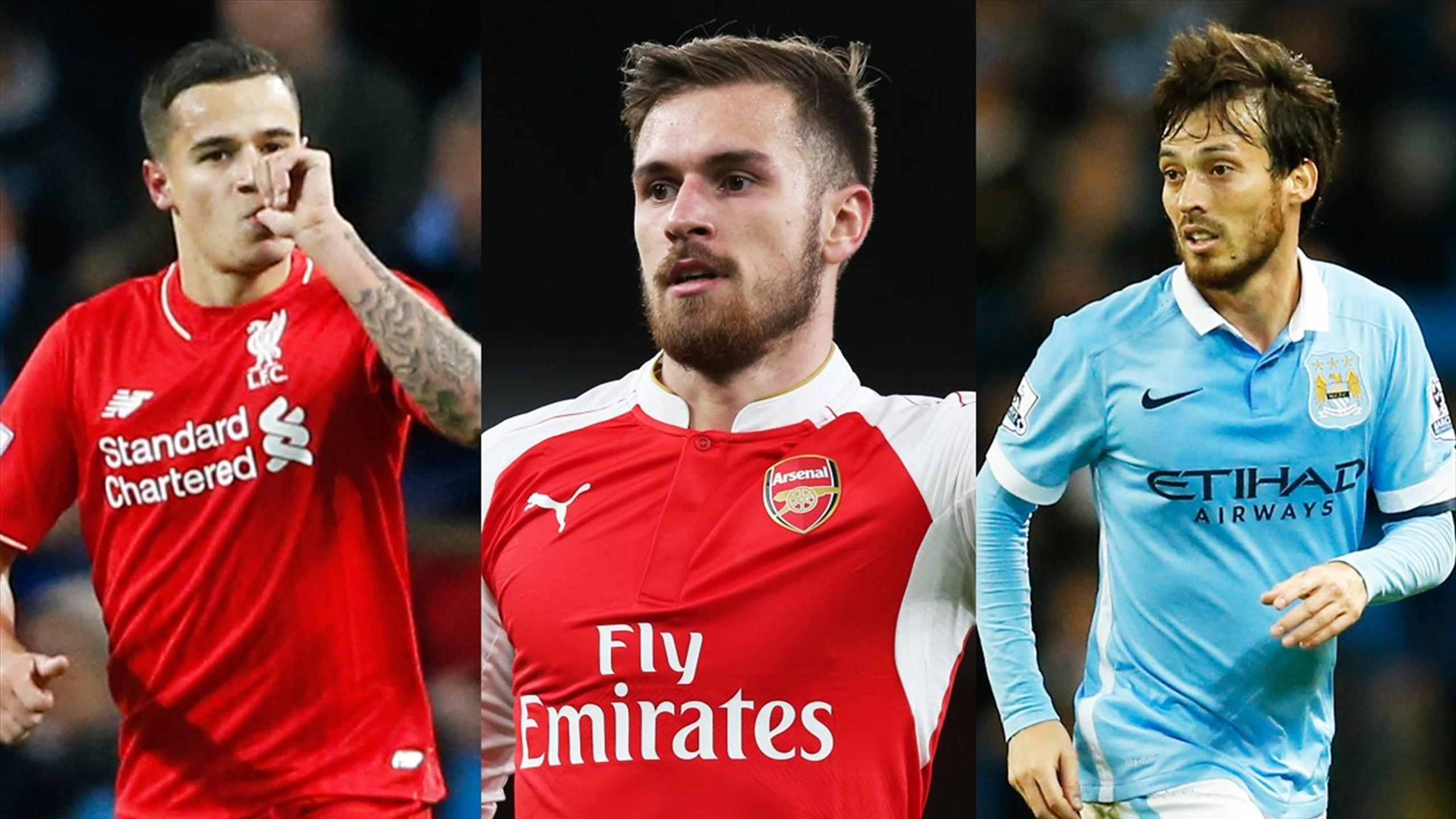 Liverpool's Philippe Coutinho, Arsenal's Aaron Ramsey and Manchester City's David Silva