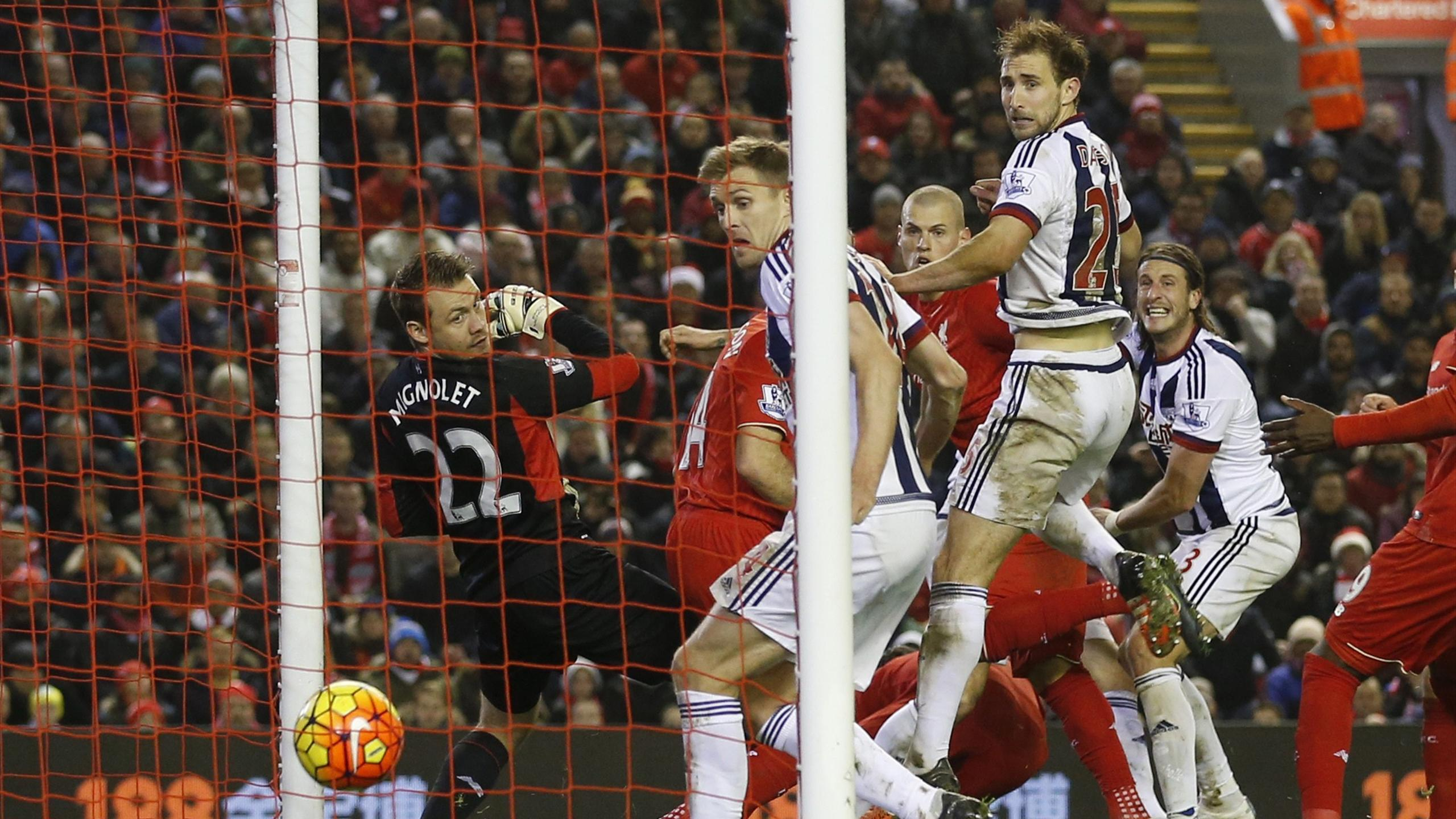 Jonas Olsson scores for West Brom against Liverpool