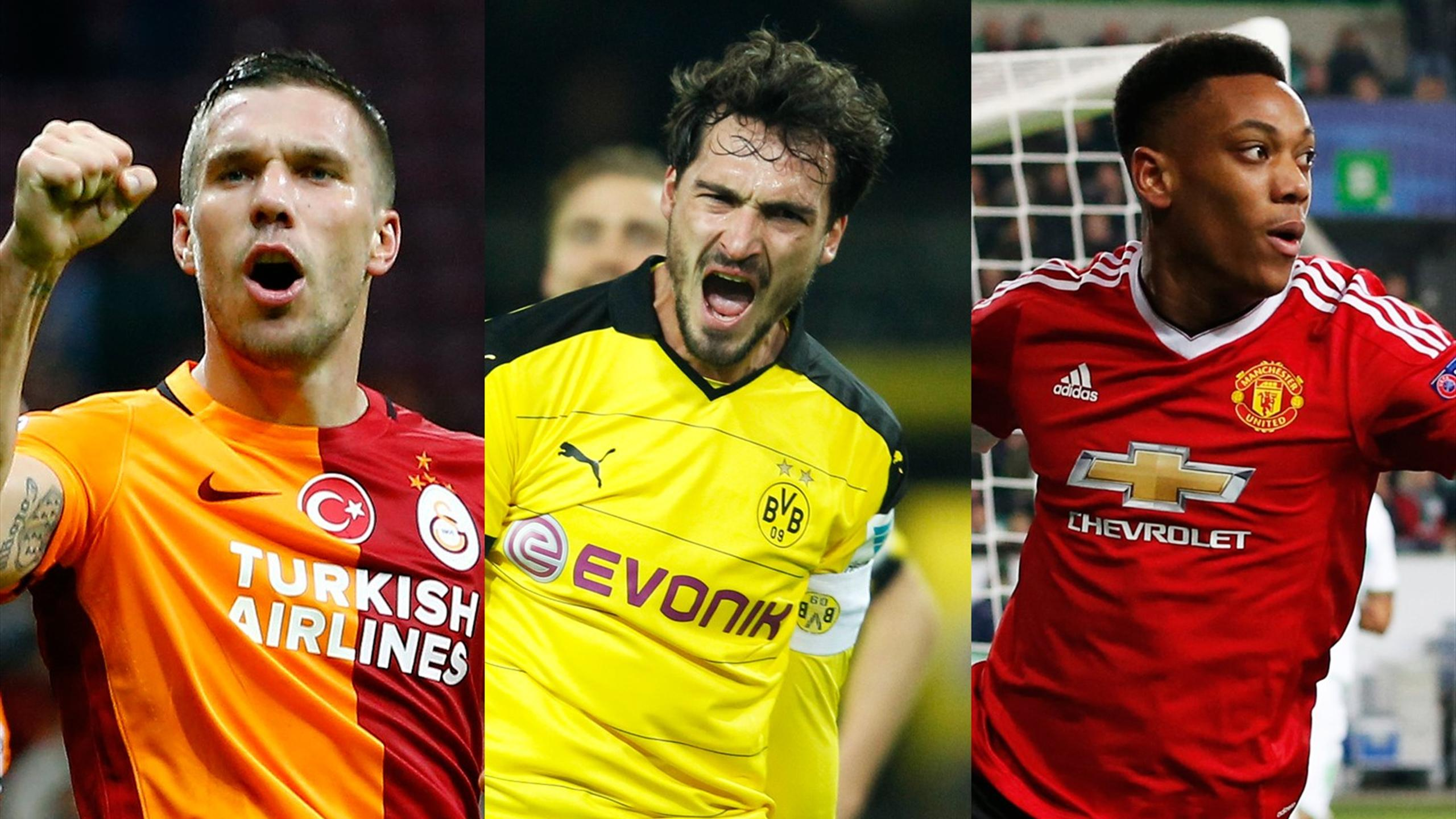 Galatasaray's Lukas Podolski, Borussia Dortmund's Mats Hummels and Manchester United's Anthony Martial