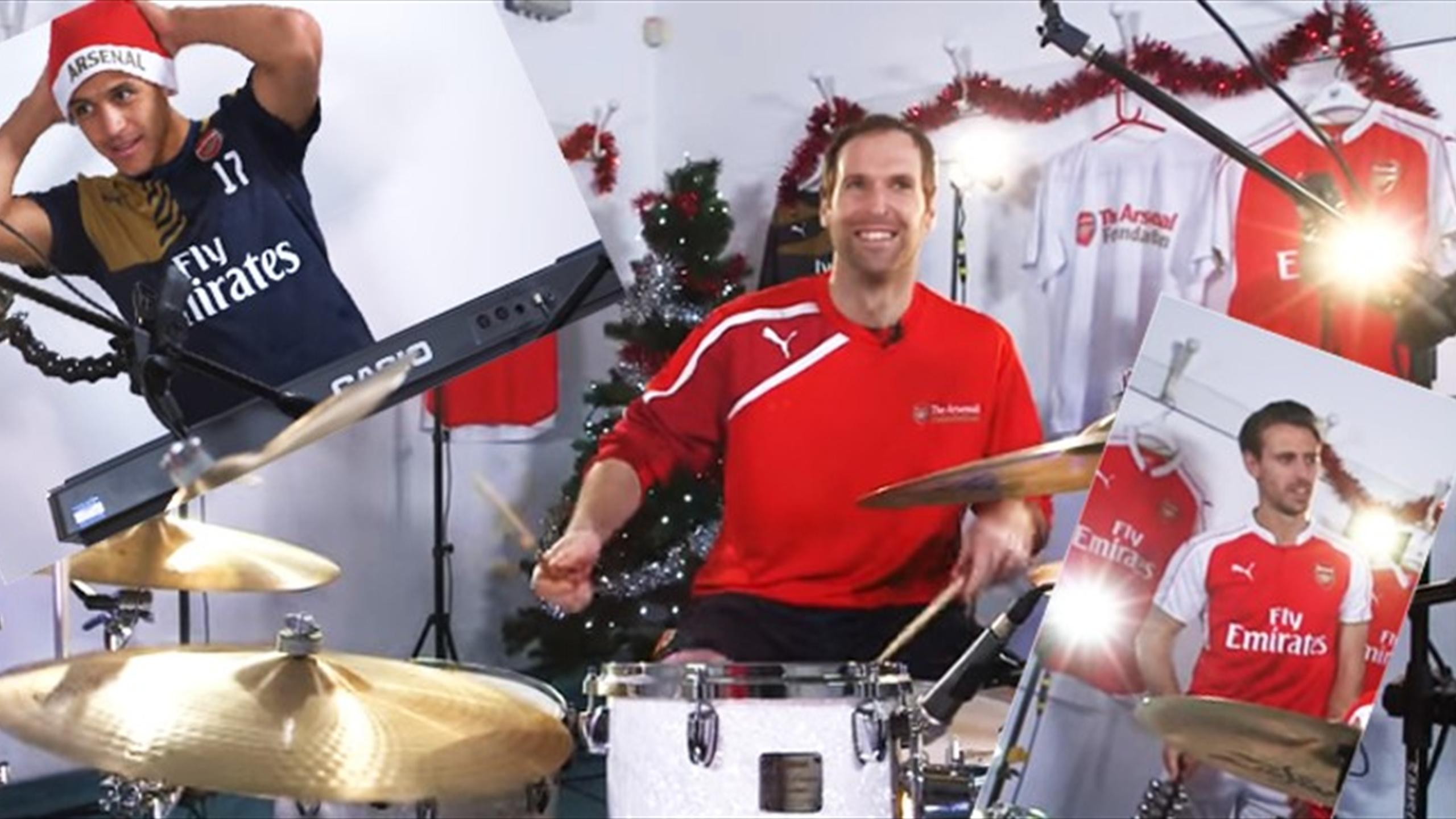 Petr Cech, Alexis Sanchez and Nacho Monreal playing in the Arsenal Foundation rock band (Youtube)