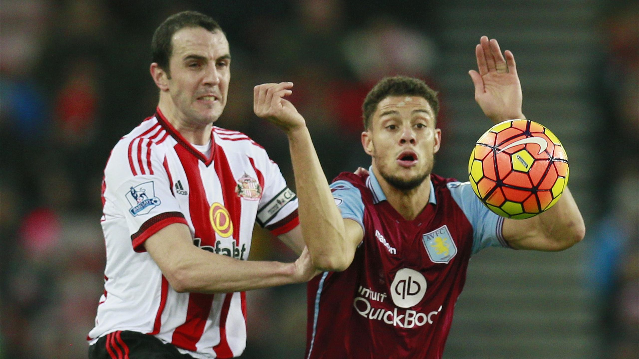 Aston Villa's Rudy Gestede in action with Sunderland's John O'Shea