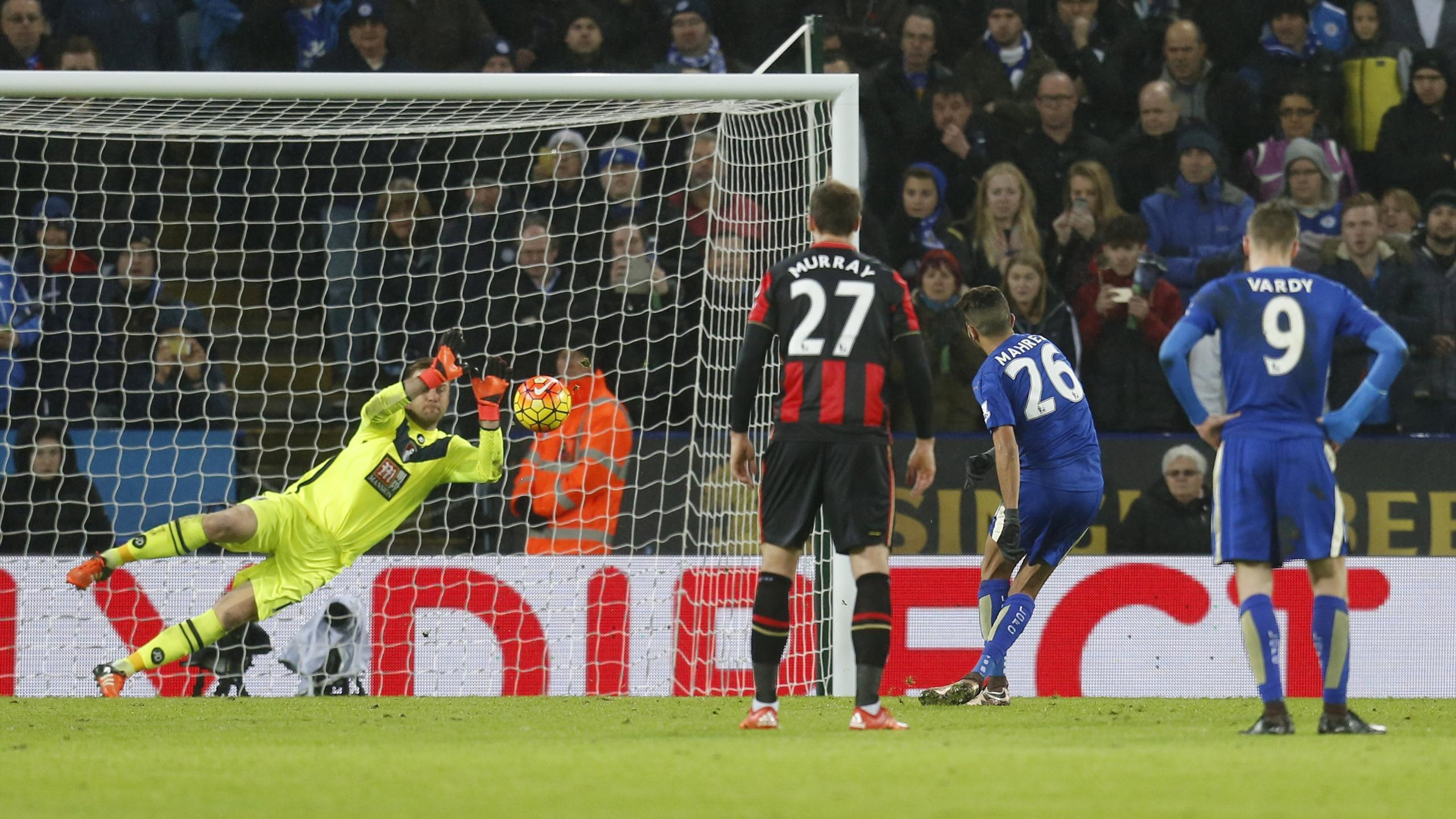 Bournemouth's Artur Boruc saves a penalty from Leicester's Riyad Mahrez