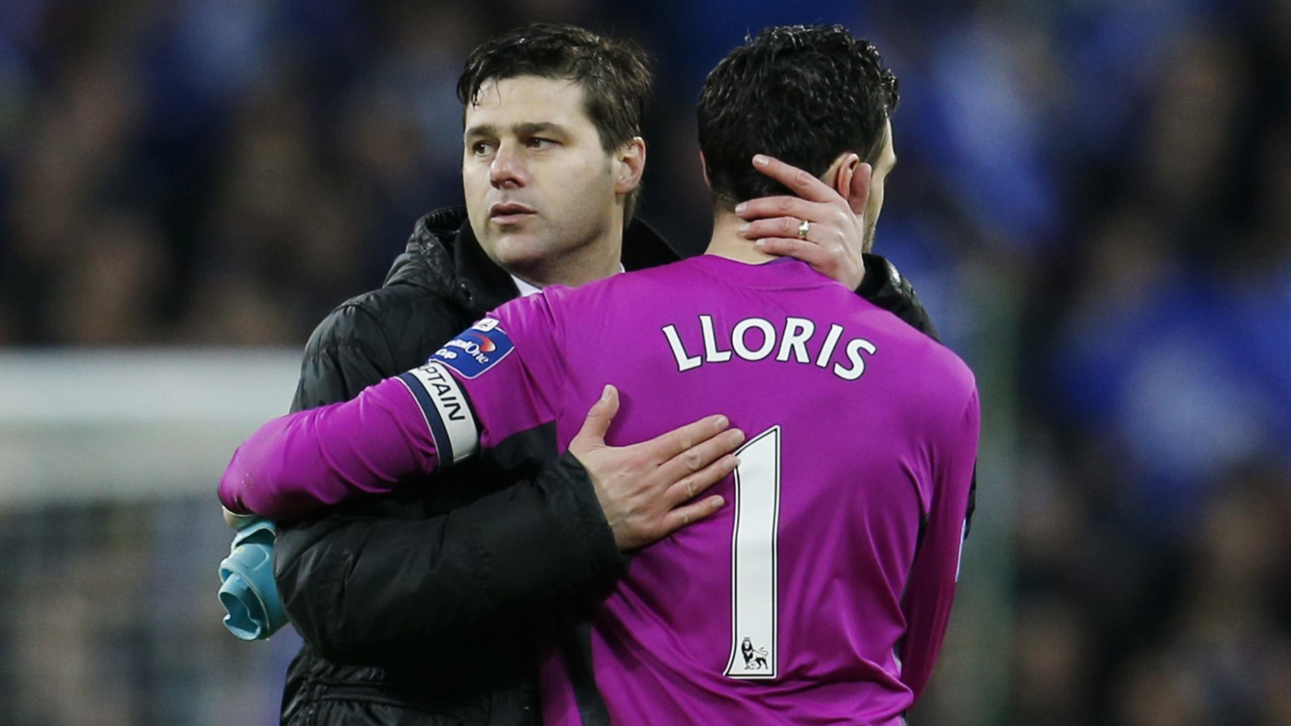 Tottenham manager Mauricio Pochettino and goalkeeper Hugo Lloris