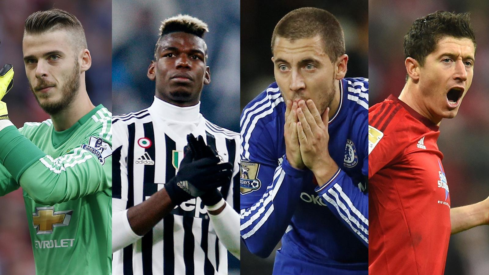 David De Gea, Paul Pogba, Eden Hazard, Robert Lewandowski