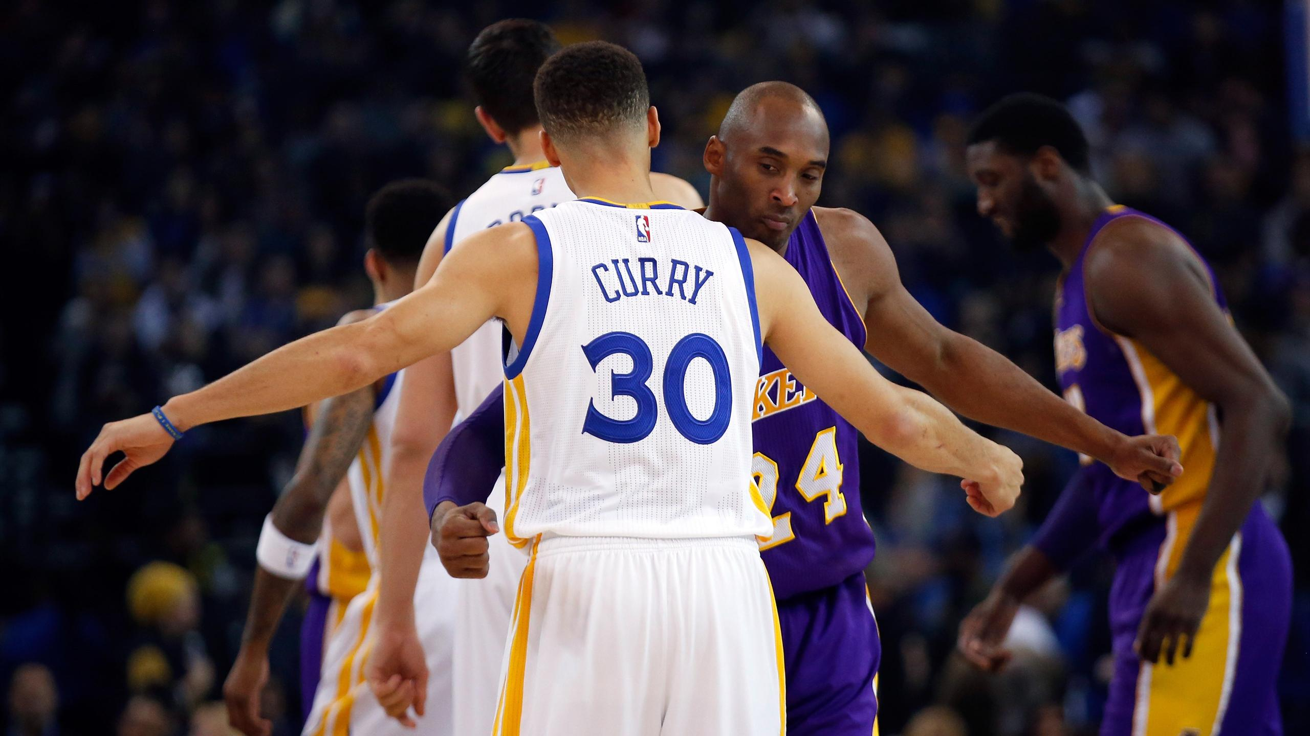 2015-16 NBA, Golden State Warriors-Los Angeles Lakers, Steph Curry, Kobe Bryant (AFP)