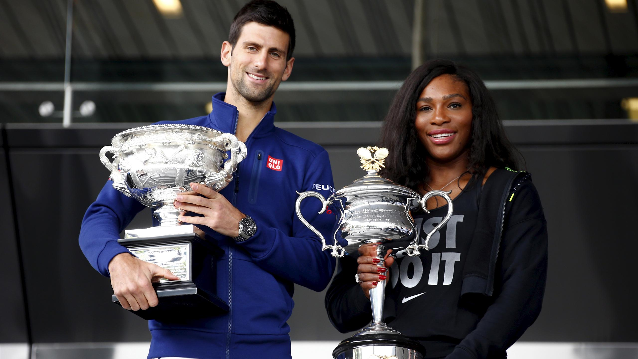 Current Australian Open Men's and Women's champions Serbia's Novak Djokovic and Serena Williams