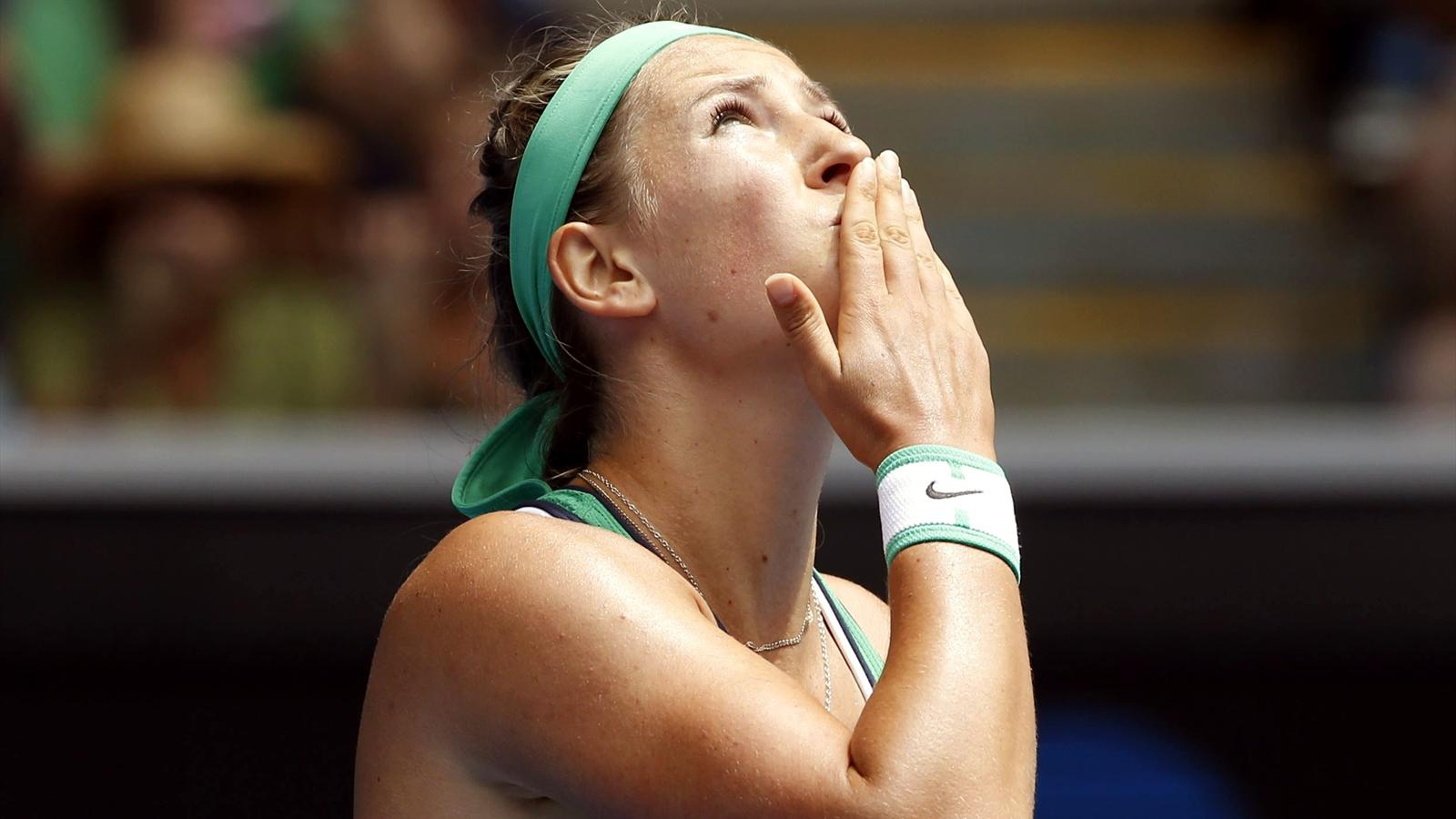 Belarus' Victoria Azarenka reacts after winning at the Australian Open