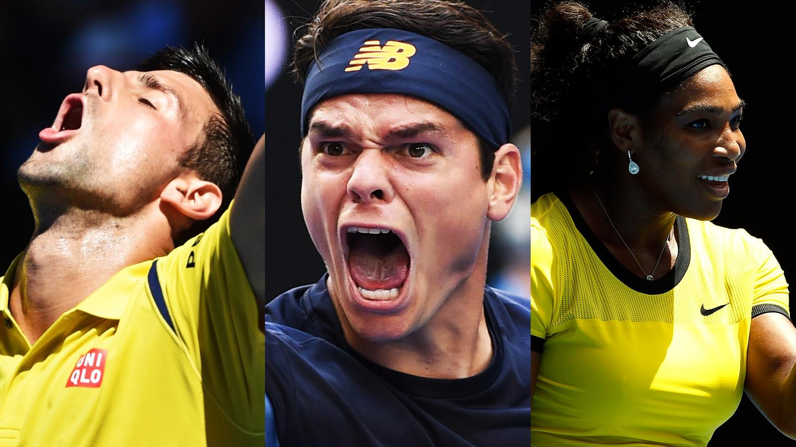 Novak Djokovic, Milos Raonic and Serena Williams
