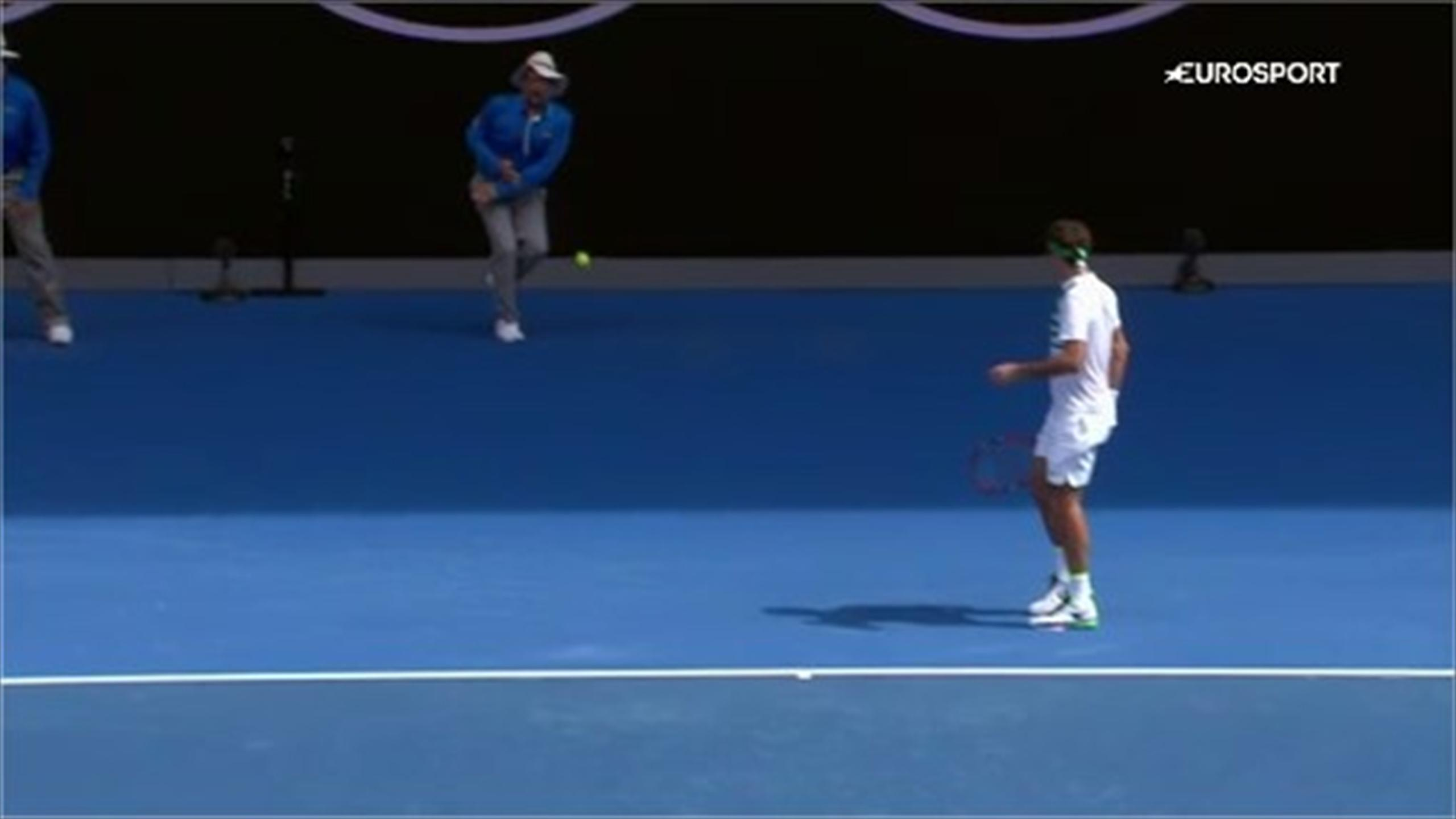 Ouch! Tomas Berdych serve strikes line judge in painful fashion quarter-final with Roger Federer