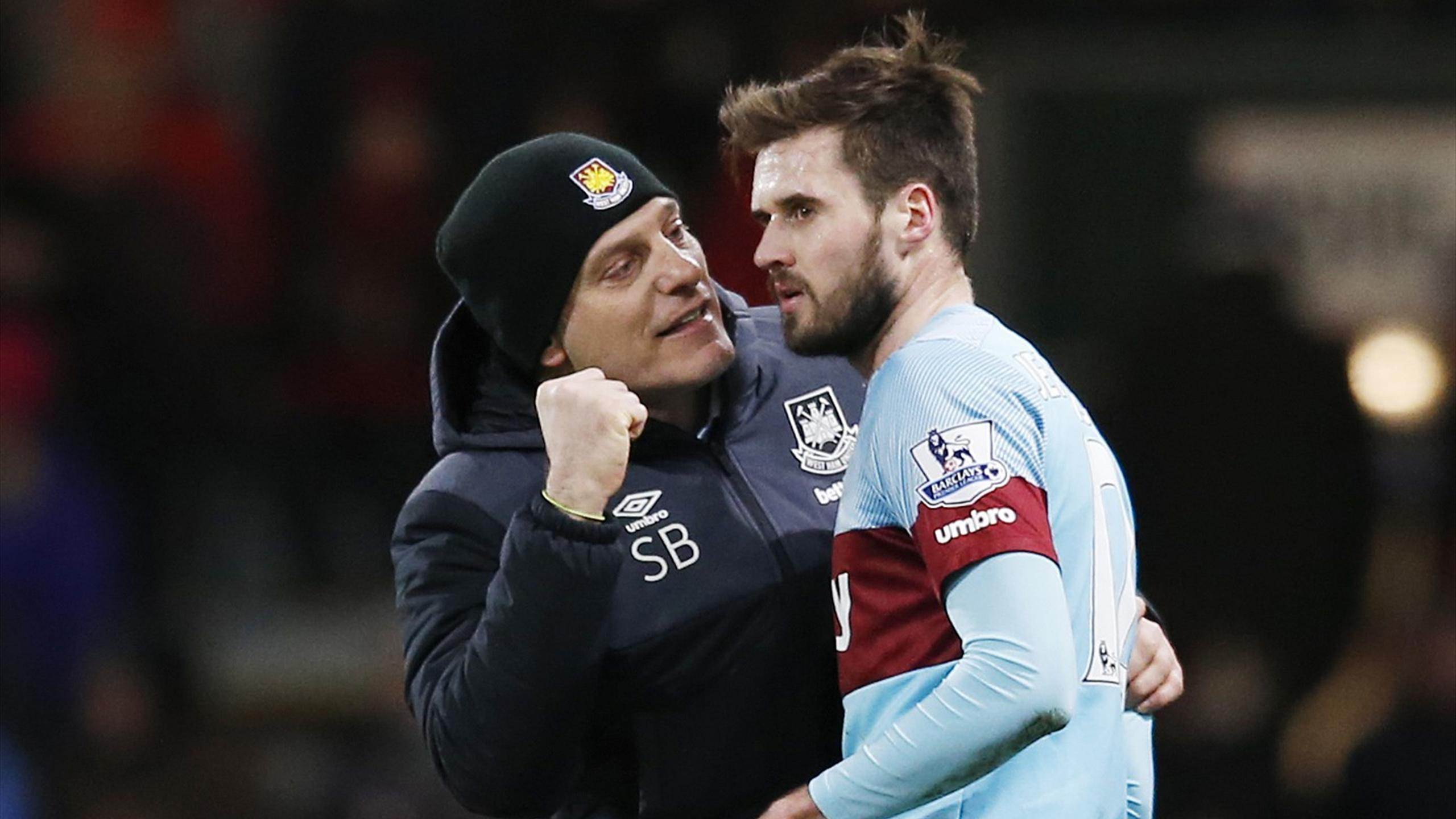 West Ham manager Slaven Bilic with Carl Jenkinson
