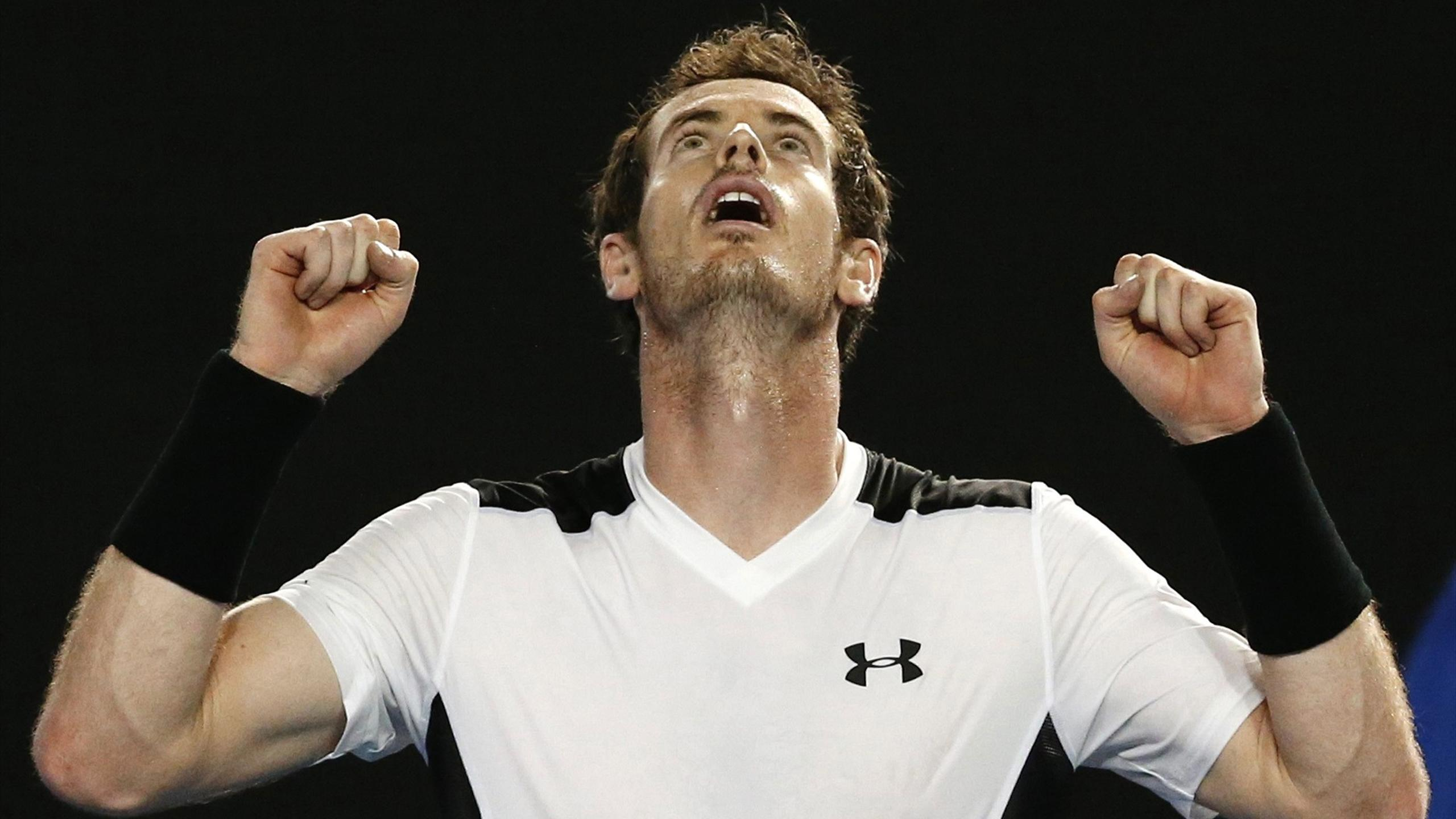 Andy Murray celebrates his Australian Open quarter-final win over David Ferrer