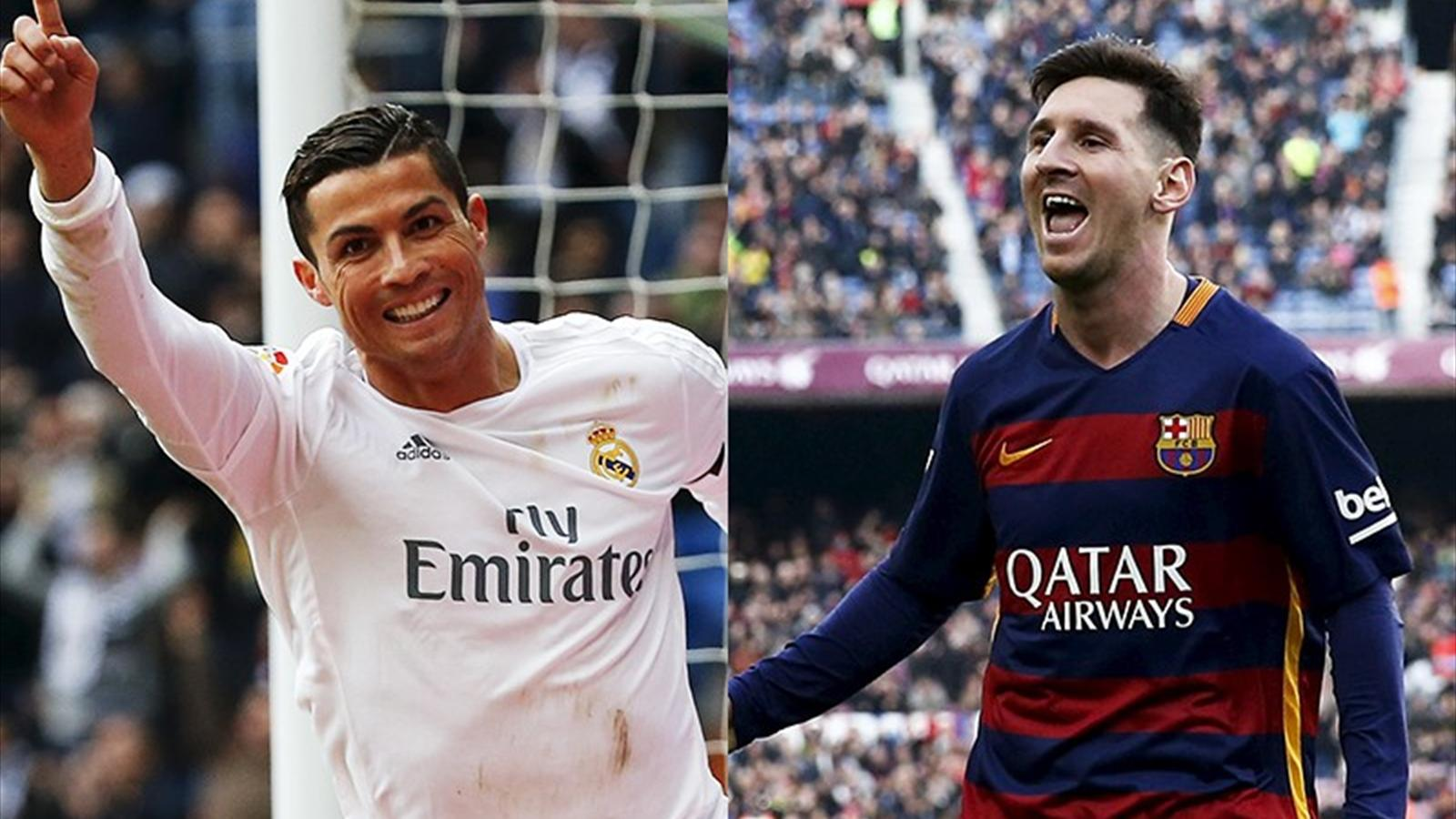 Real Madrid's Cristiano Ronaldo and Lionel Messi of Barcelona