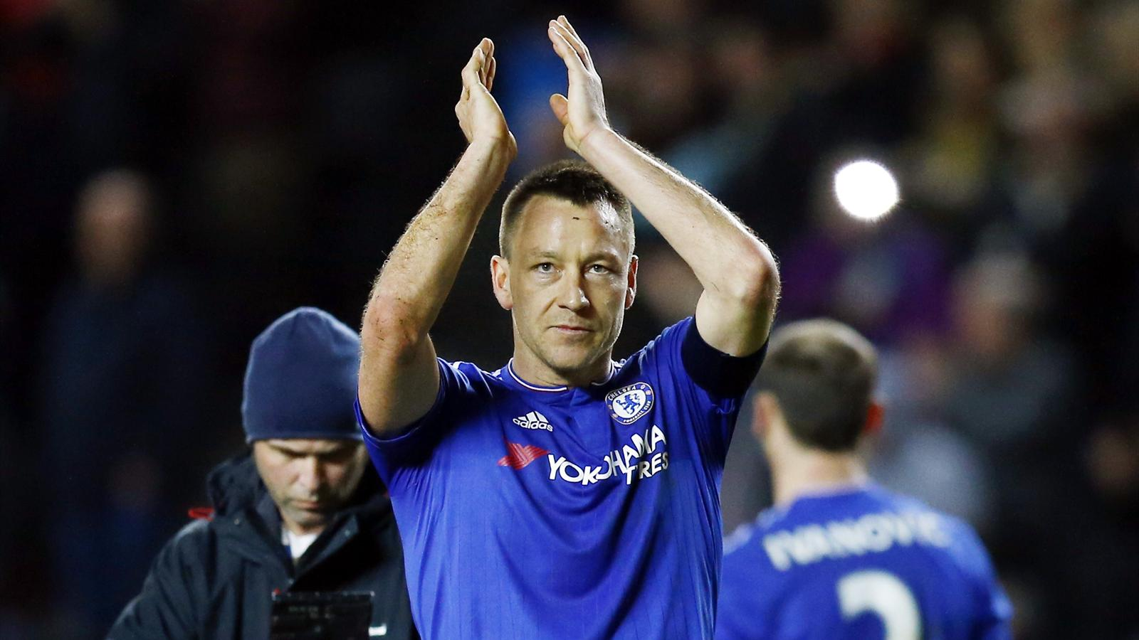 John Terry applauds the fans following Chelsea's win over MK Dons