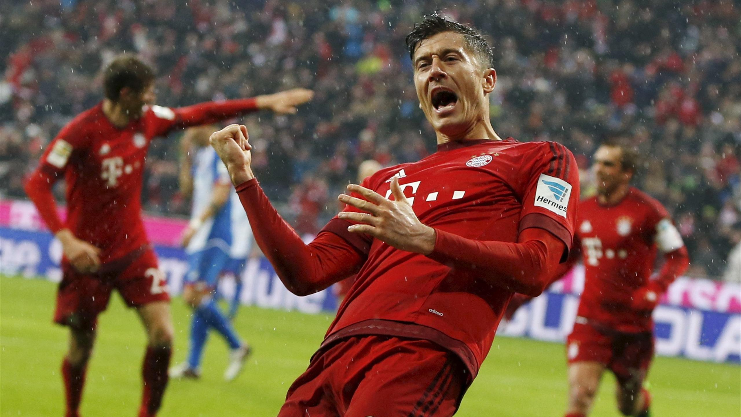 Robert Lewandowski celebrates another Bayern Munich goal