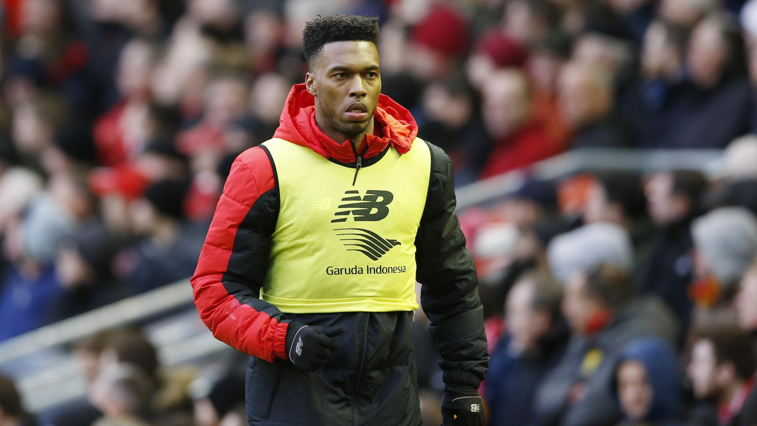 Liverpool substitute Daniel Sturridge warms up against Sunderland
