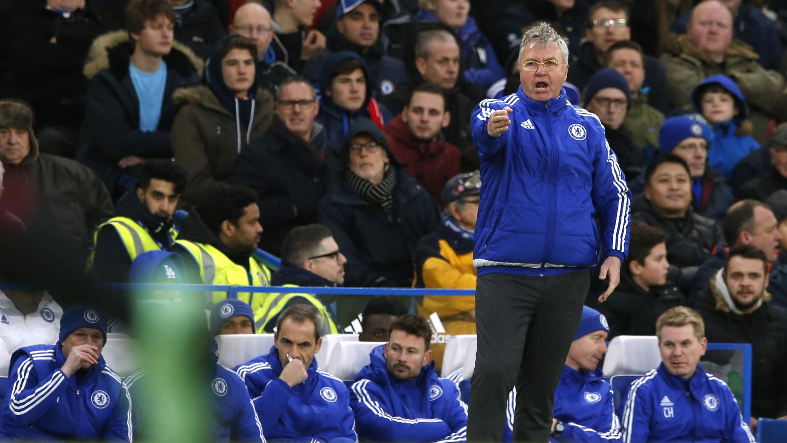 Chelsea manager Guus Hiddink remonstrates