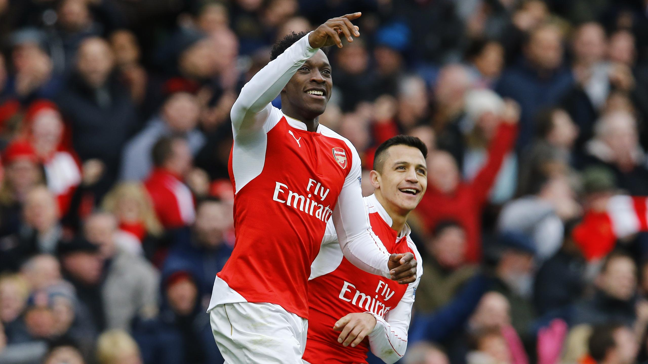 Danny Welbeck celebrates scoring the second goal for Arsena