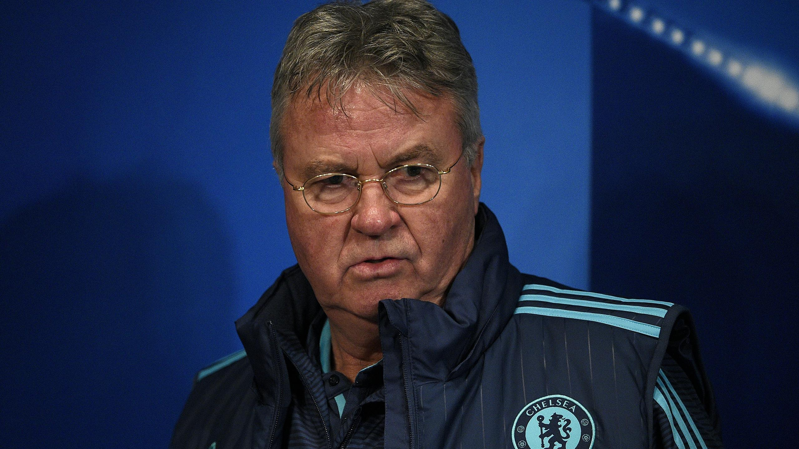 Chelsea's football club Dutch manager Guus Hiddink arrives for a press conference on the eve of the UEFA Champions League football match between Chelsea and Paris Saint Germain, on February 15, 2016 at the Parc des Princes stadium in Paris