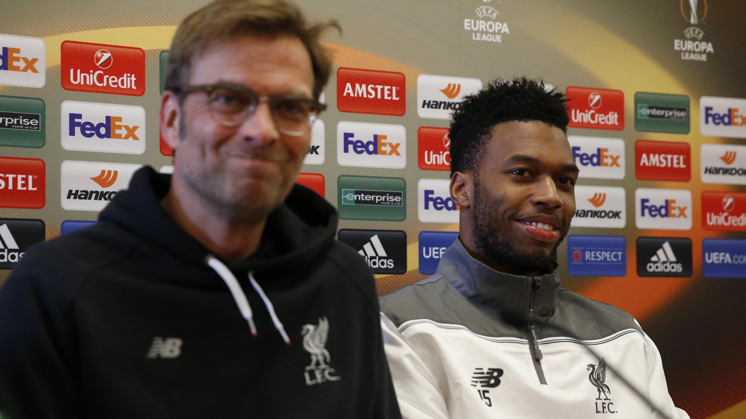 Liverpool manager Juergen Klopp and Daniel Sturridge during the press conference