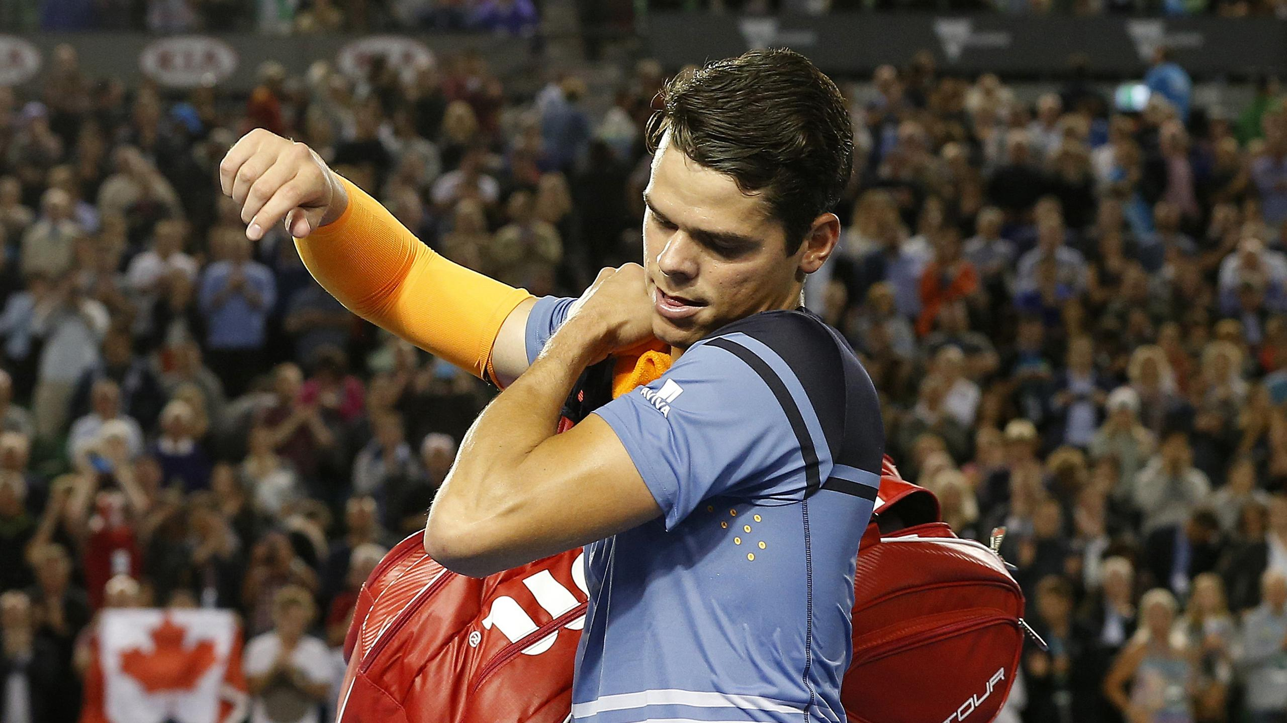 Canada's Milos Raonic leaves the court