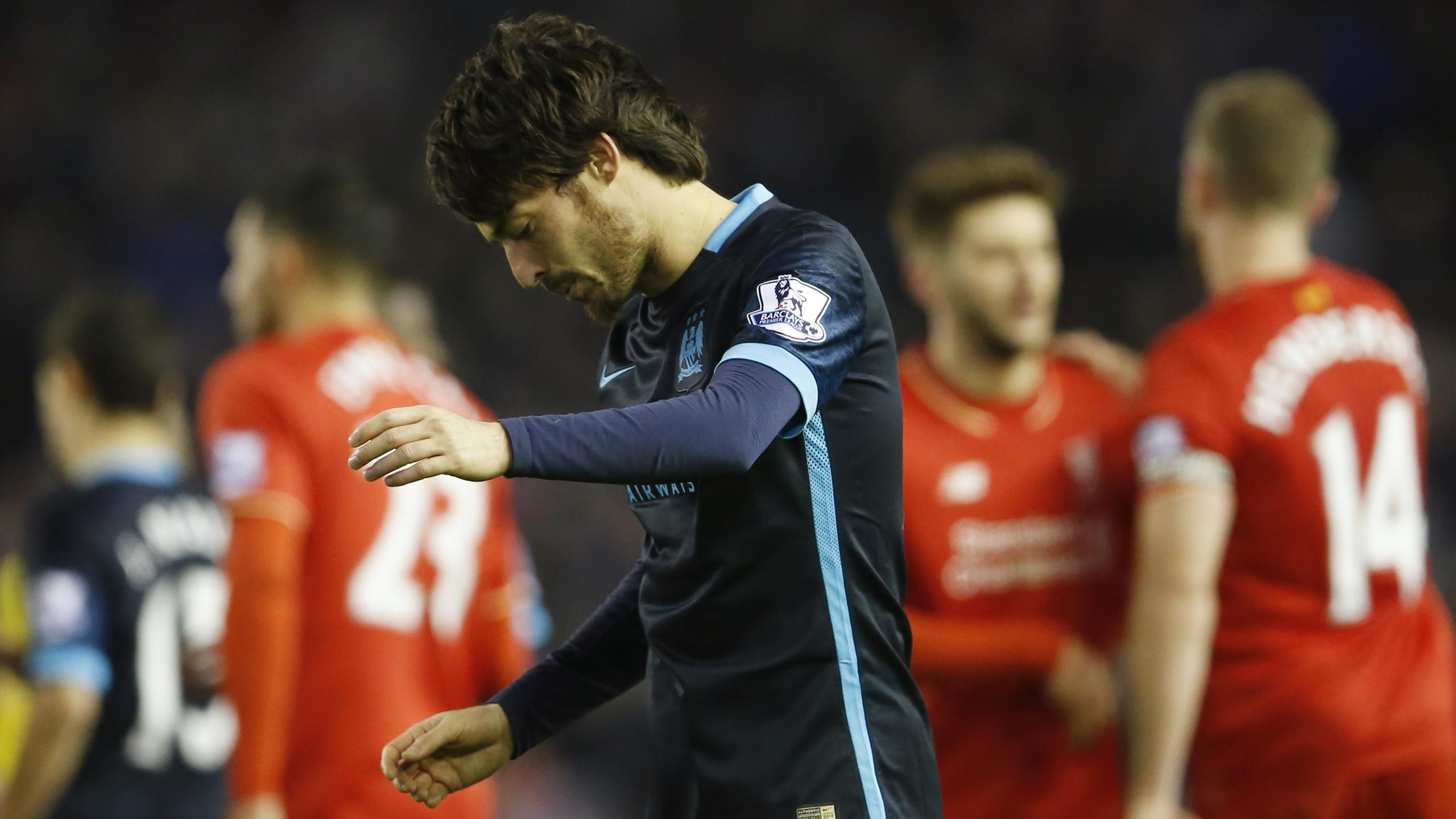 Manchester City's David Silva looks dejected