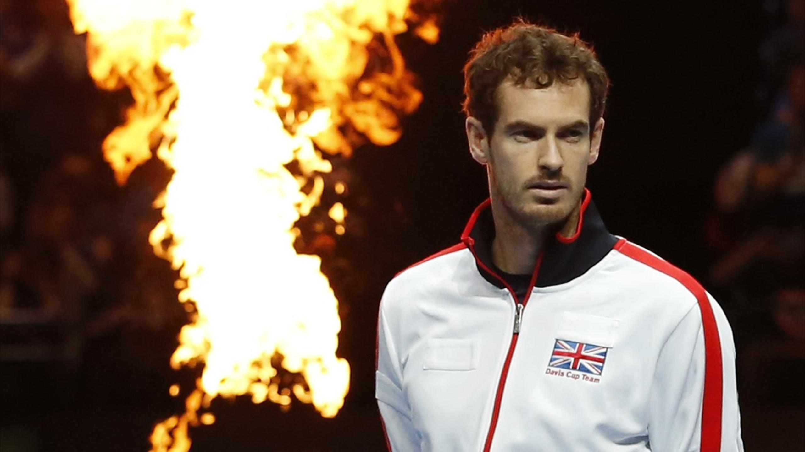 Britain's Andy Murray competing in the Davis Cup in 2016