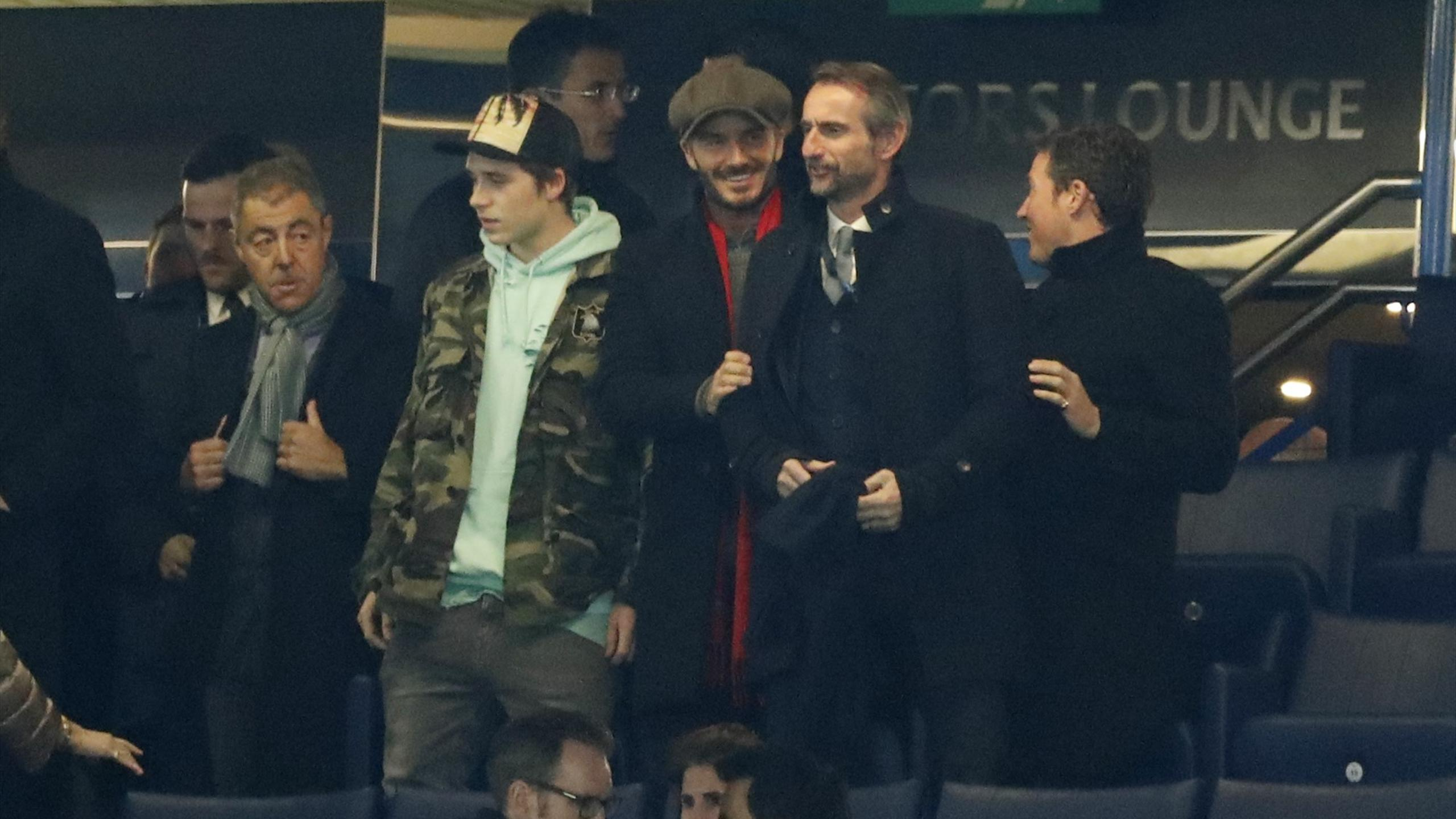 David Beckham with his son Brooklyn at Stamford Bridge for Chelsea v PSG