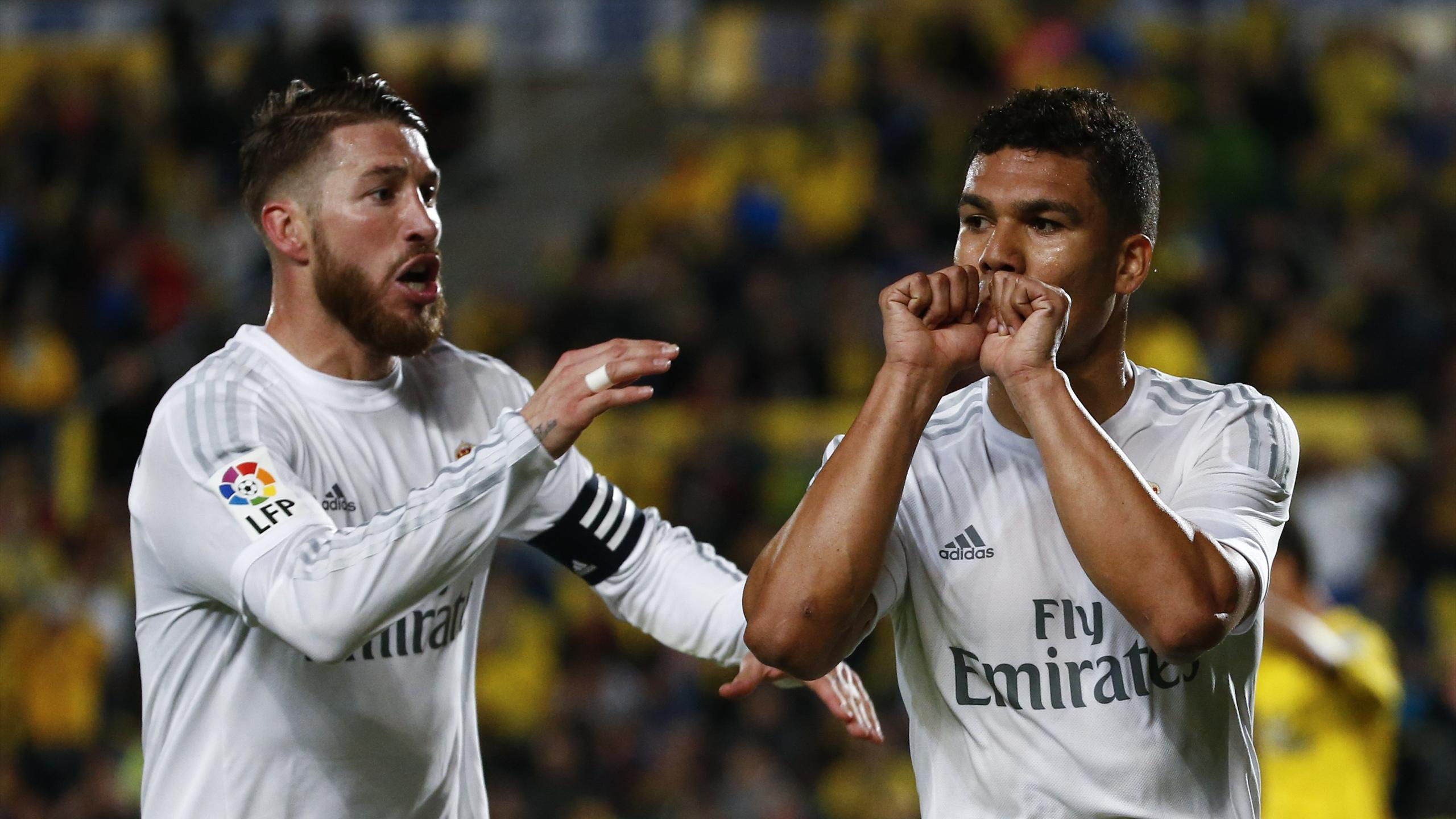 Real Madrid's Casemiro celebrates after scoring a goal with team mate Sergio Ramos