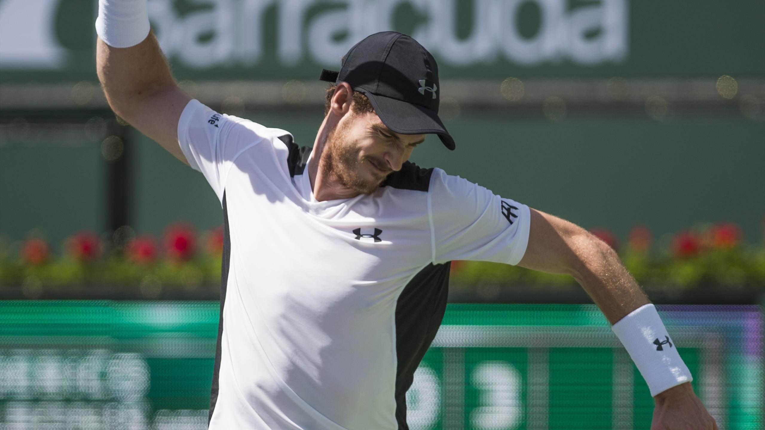 Andy Murray of Great Britain reacts during his match against Federico Delbonis of Argentina at Indian Wells
