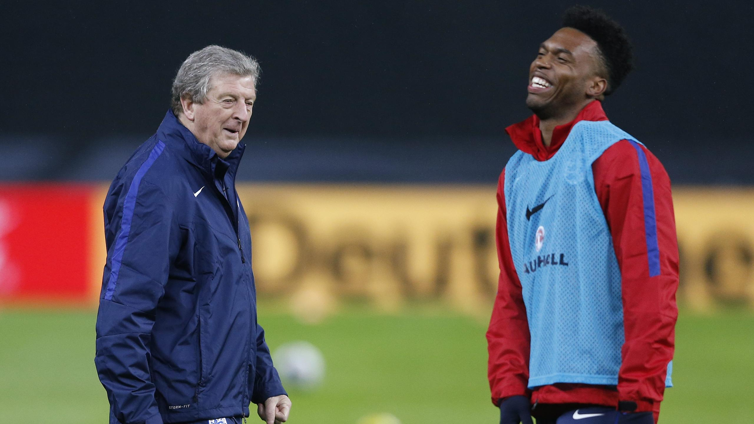 England manager Roy Hodgson and Daniel Sturridge during training