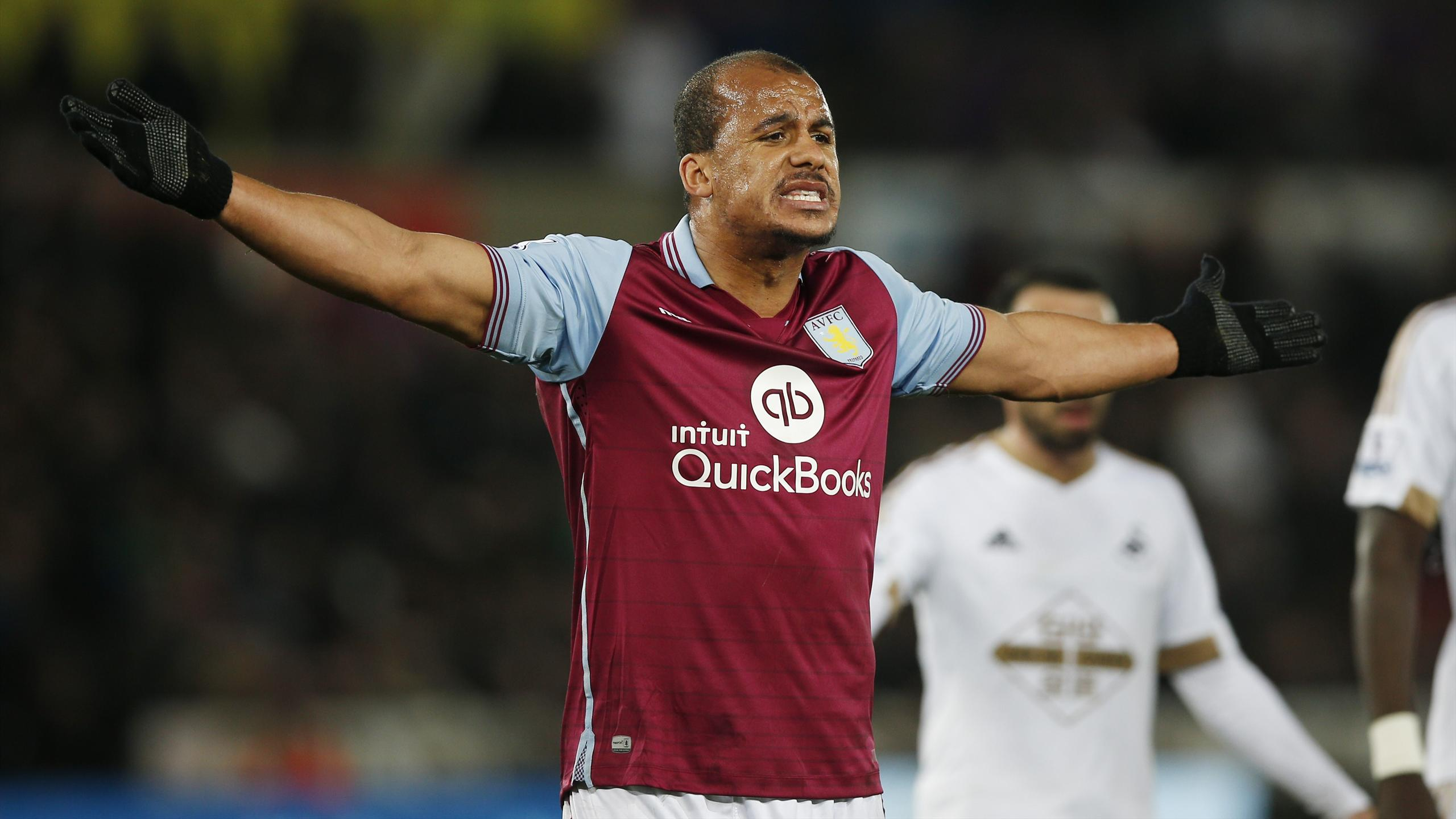 Gabriel Agbonlahor of Aston Villa reacts to a decision